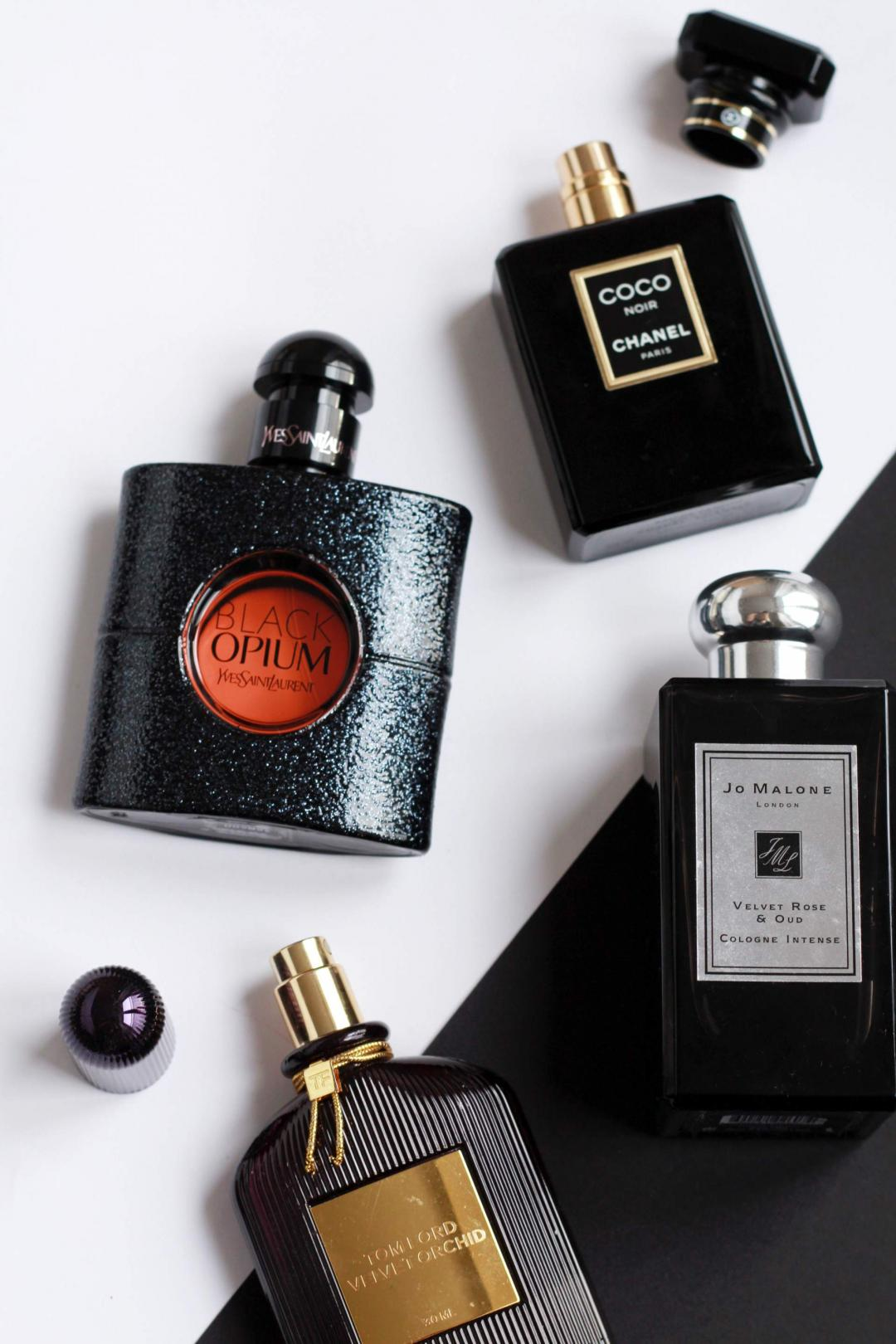 autumn-perfume-YSL-black-opium-jo-malone-rose-and-oud-tom-ford-velvet-orchid-chanel-noir