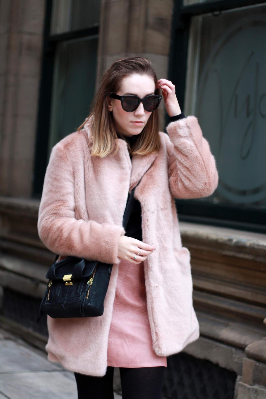 reiss-alba-pink-faux-fur-coat-zara-leather-skirt-mango-roll-neck-phillip-lim-pashli