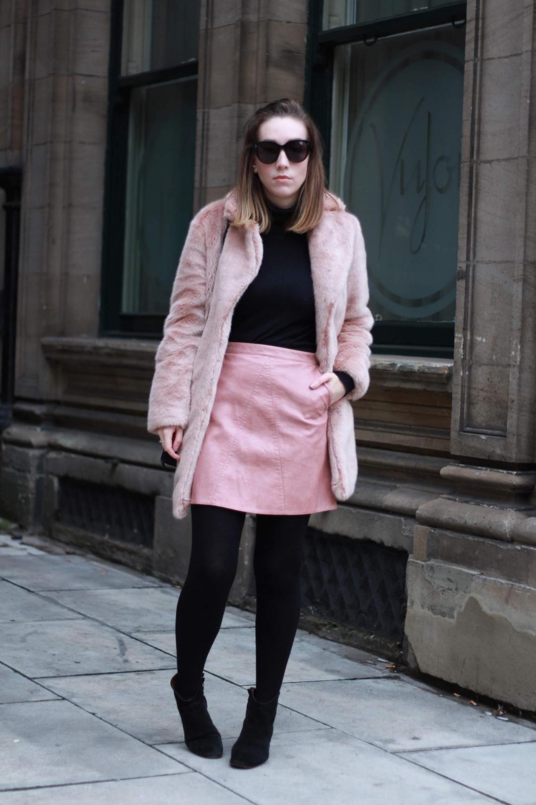 reiss-alba-pink-faux-fur-coat-zara-leather-skirt-mango-roll-neck-phillip-lim-pashli