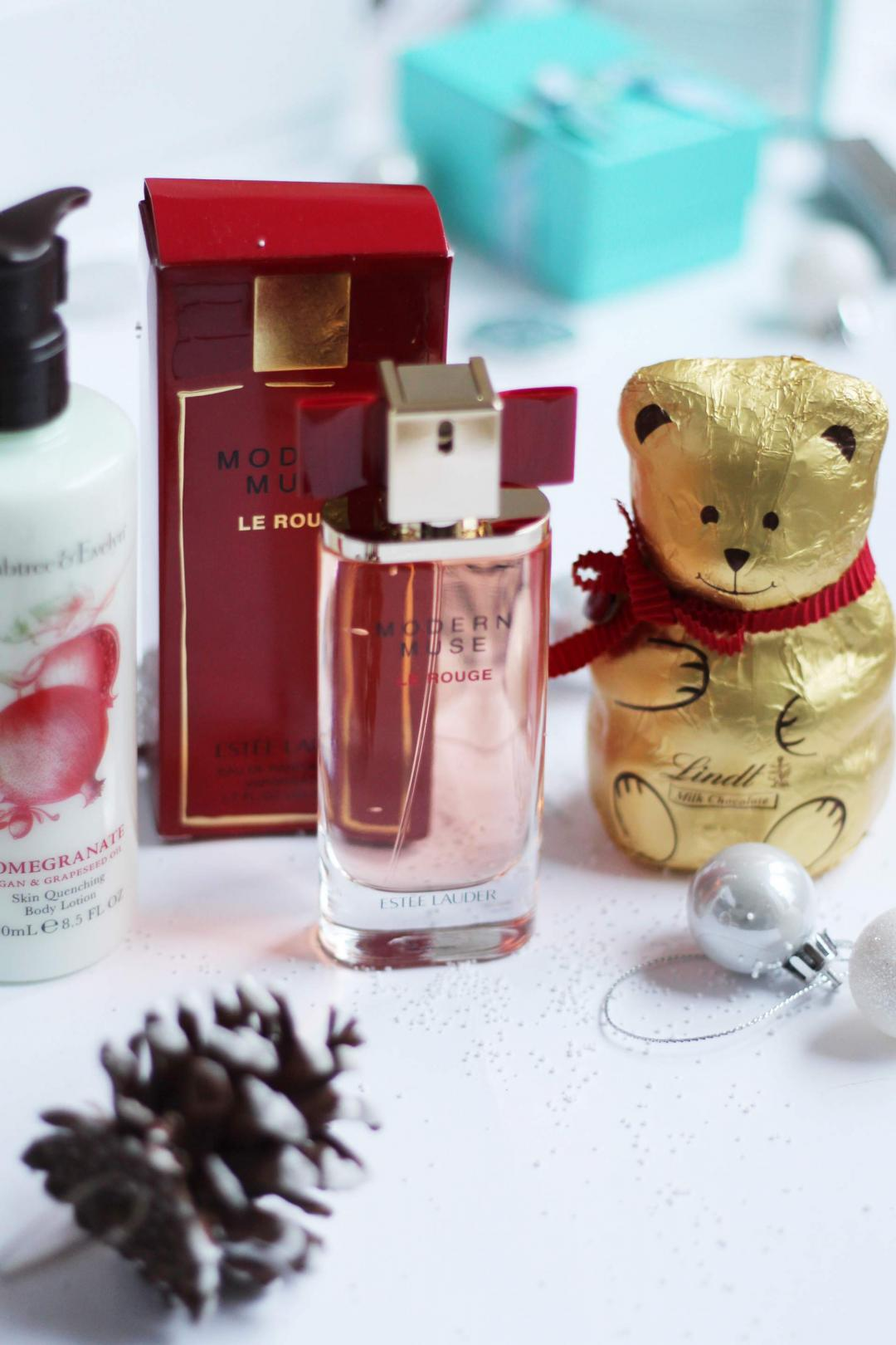 christmas-gift-guide-extras-estee-lauder-modern-muse-le-rouge-lindt-chocolate-bear