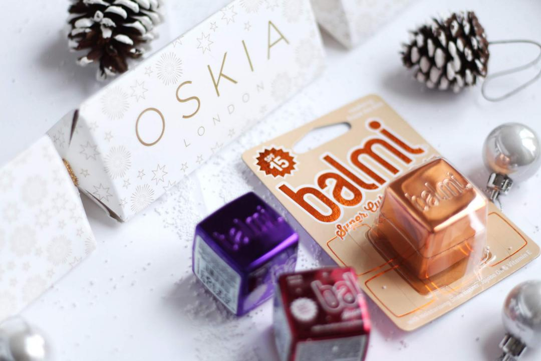 christmas-gift-guide-skincare-oskia-cleansing-gel-balmi-lip-balm-cherry-rose-gold-blackcurrent