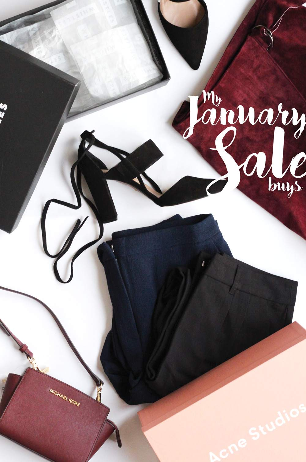 sale-buys-january-asos-suede-wrap-skirt-navy-trousers-acne-jaycee-loafers-michael-kors-selma-burgundy-whistles-heels-1