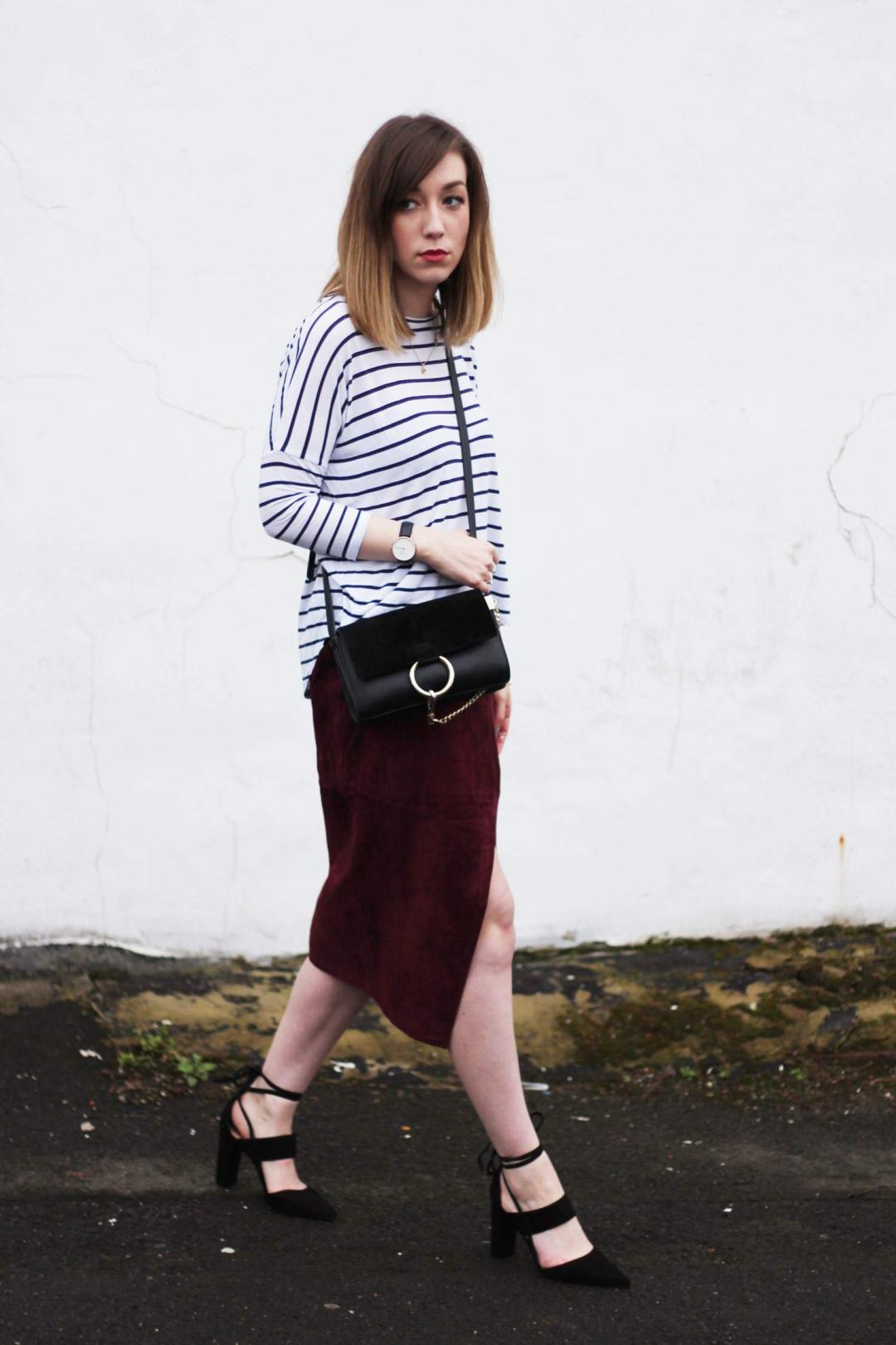 january-asos-suede-wrap-skirt-COS-belted-coat-whistles-lace-up-heels-stripe-top-8