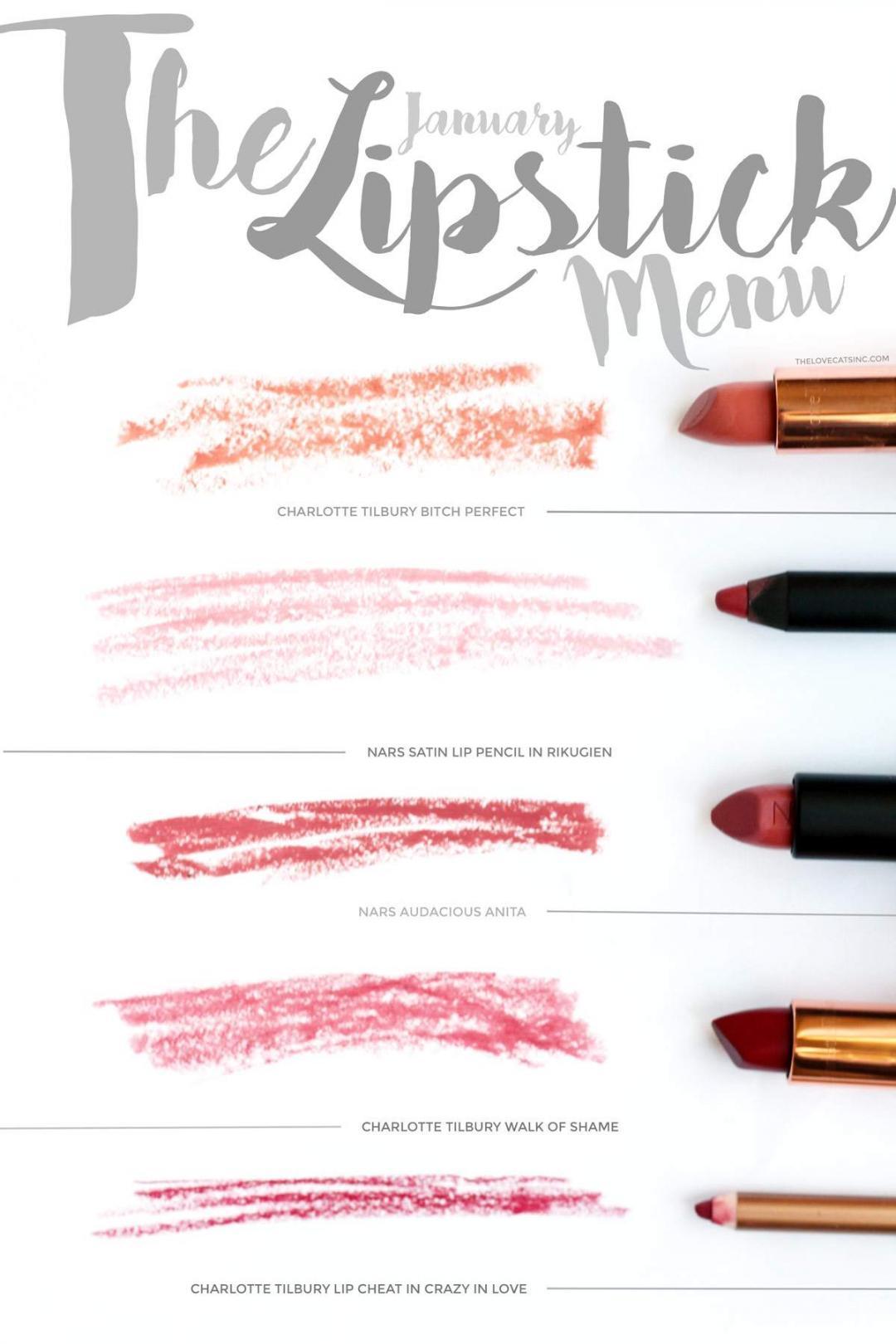 new-lipsticks-charlotte-tilbury-bitch-perfect-walk-of-shame-crazy-in-love-lip-cheat-NARS-audacious-anita-satin-lip-pencil-rikugien