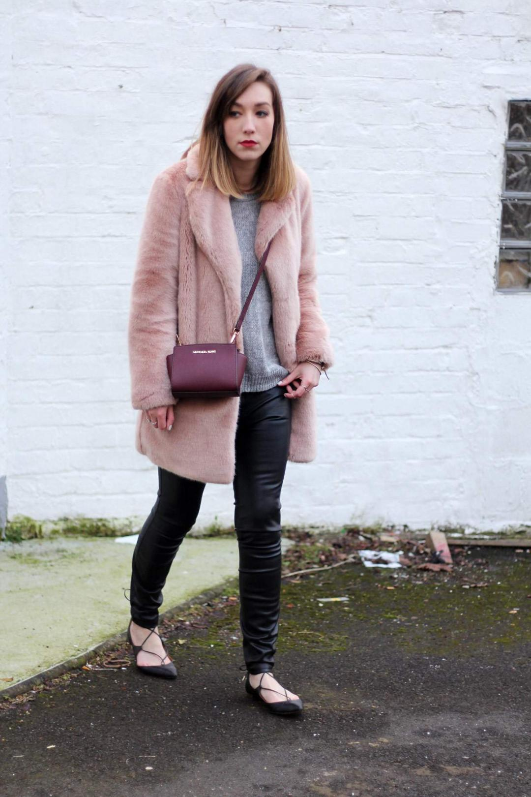 reiss-alba-pink-fur-coat-leather-skinny-jeans-michael-kors-burgundy-selma-bag-aquazzura-christy-flat-shoes