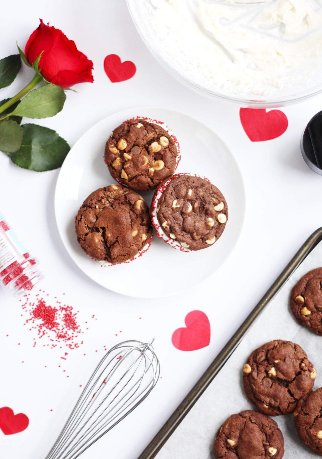 double-chocolate-chip-cookie-dough-sandwich-recipe-buttercream-frosting-thelovecatsinc-valentines-day