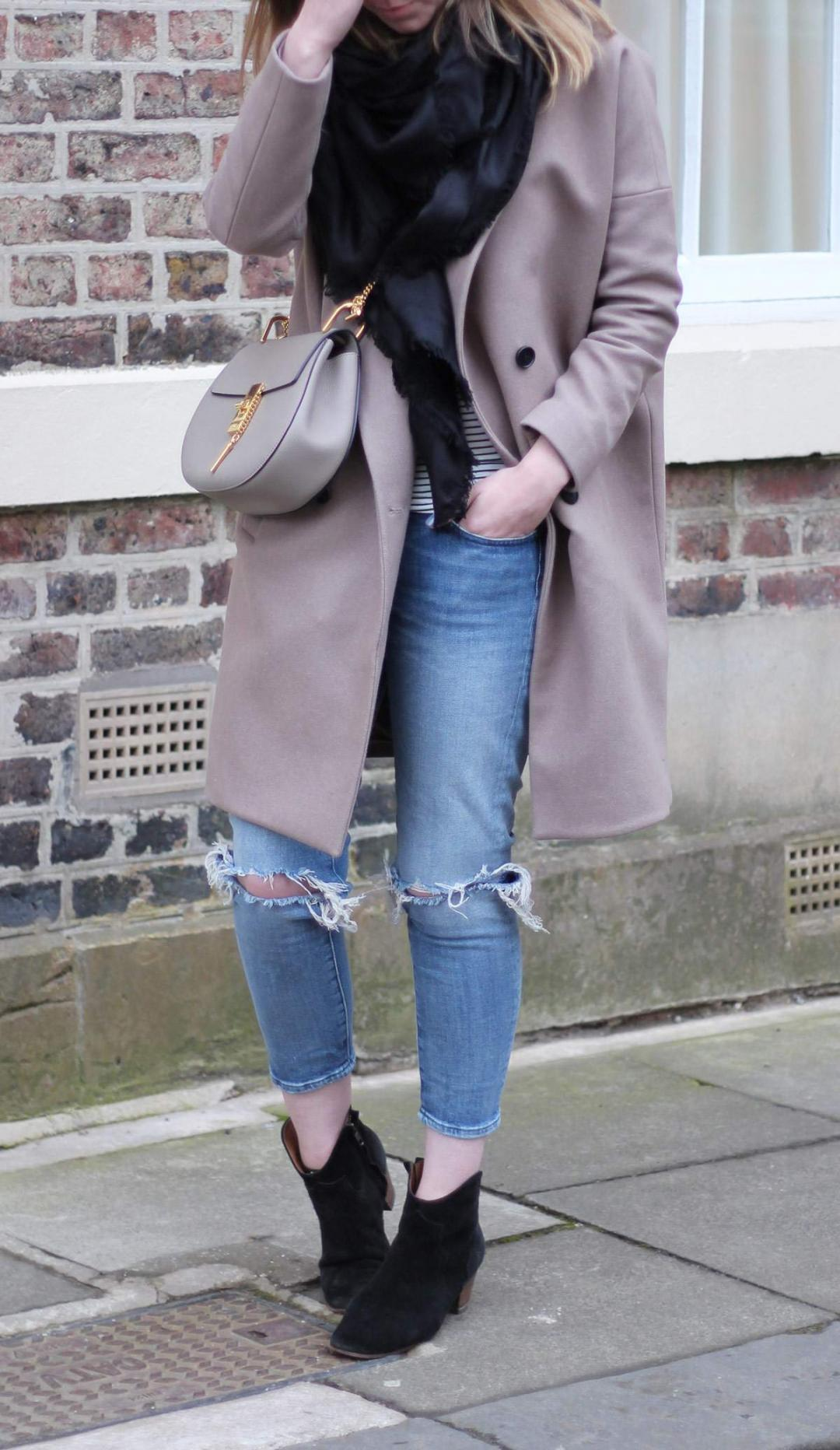 all-saints-ember-nesi-coat-chloe-drew-grey-ripped-jeans-louis-vuitton-black-scarf-2