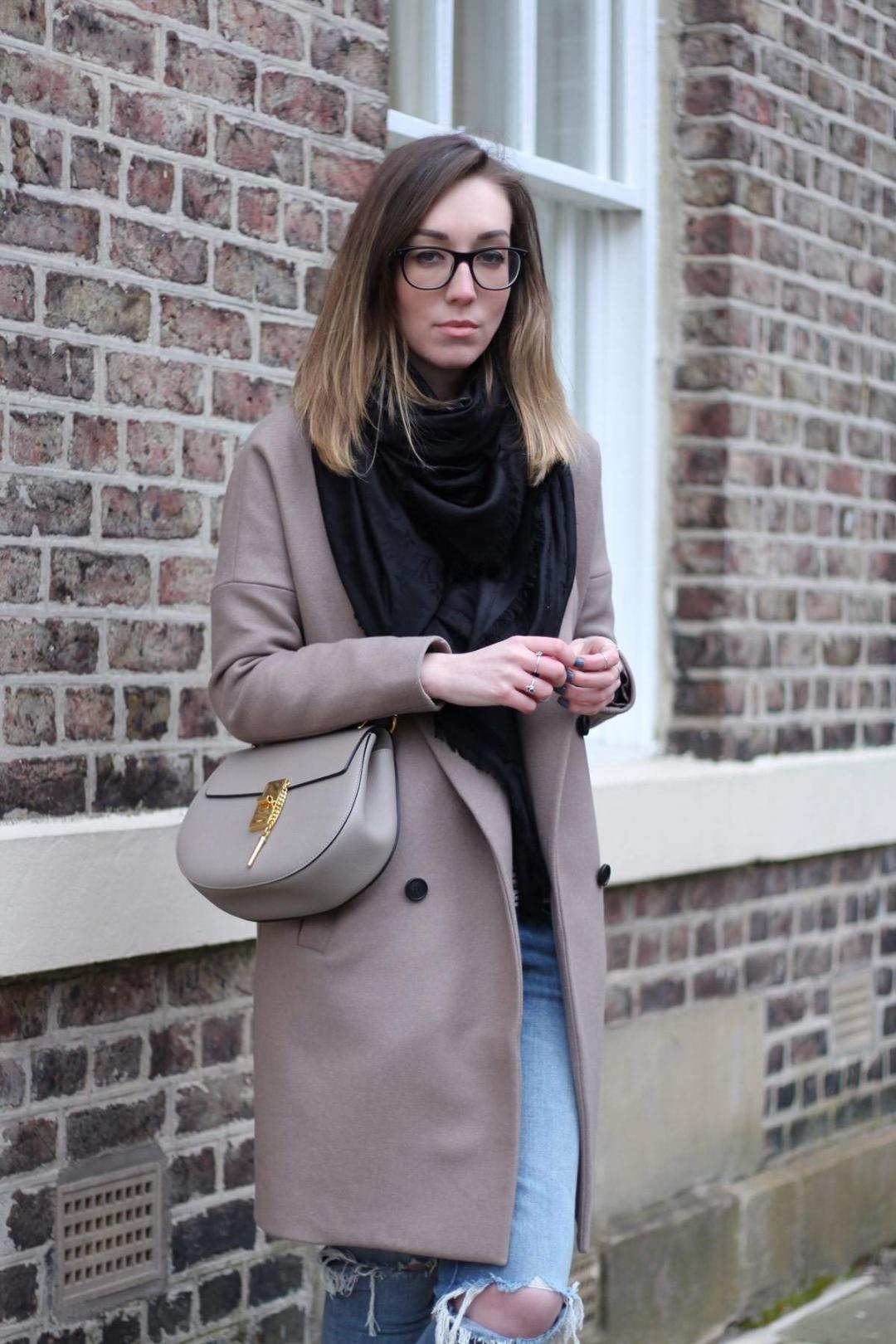 all-saints-ember-nesi-coat-chloe-drew-grey-ripped-jeans-louis-vuitton-black-scarf-5