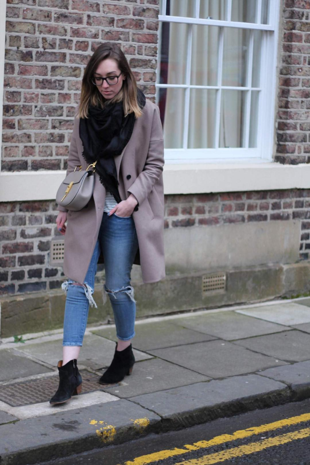 all-saints-ember-nesi-coat-chloe-drew-grey-ripped-jeans-louis-vuitton-black-scarf