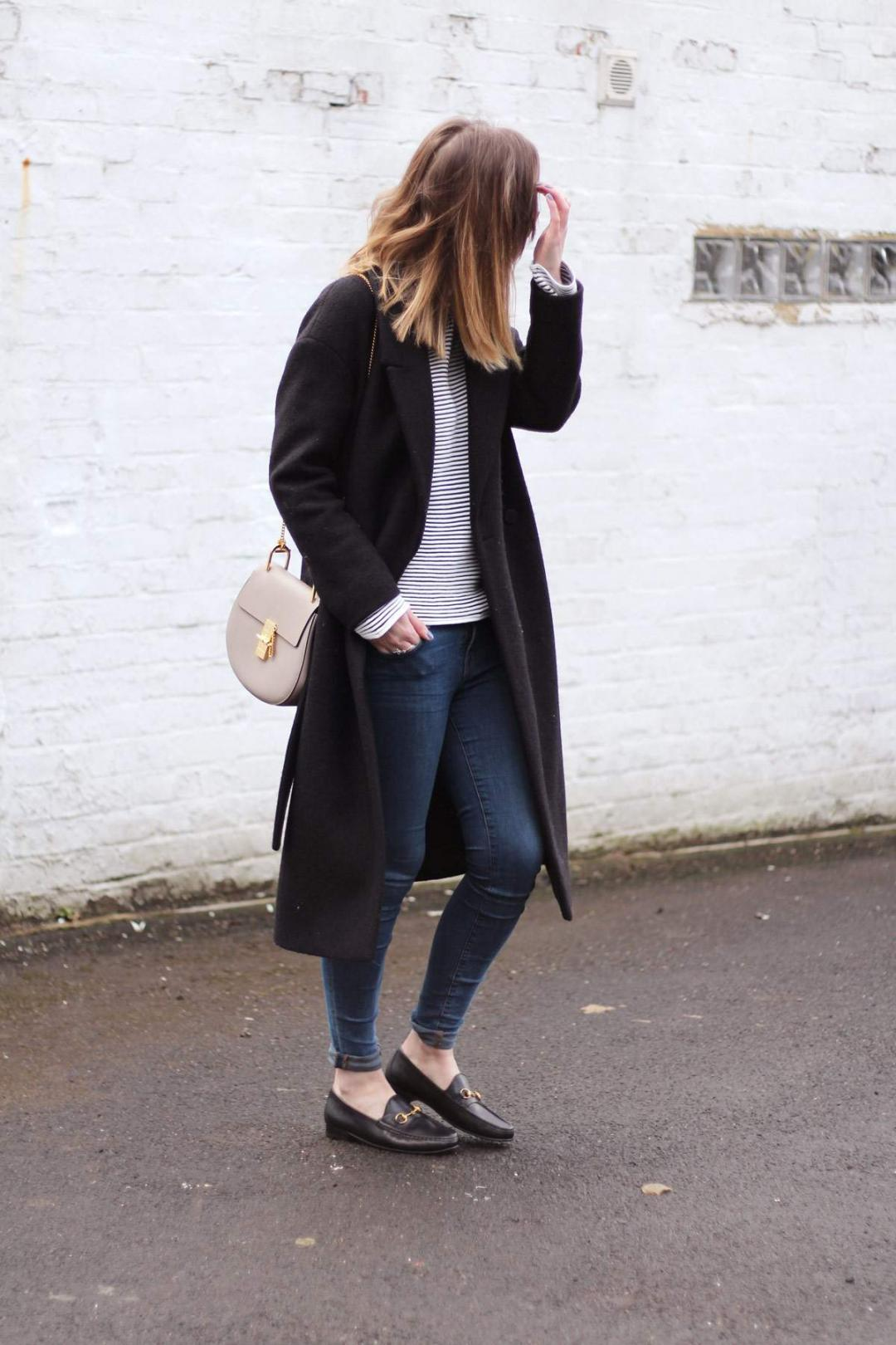 cos-coat-gucci-loafers-warehouse-striped-jumper-chloe-drew-grey-outfit-1