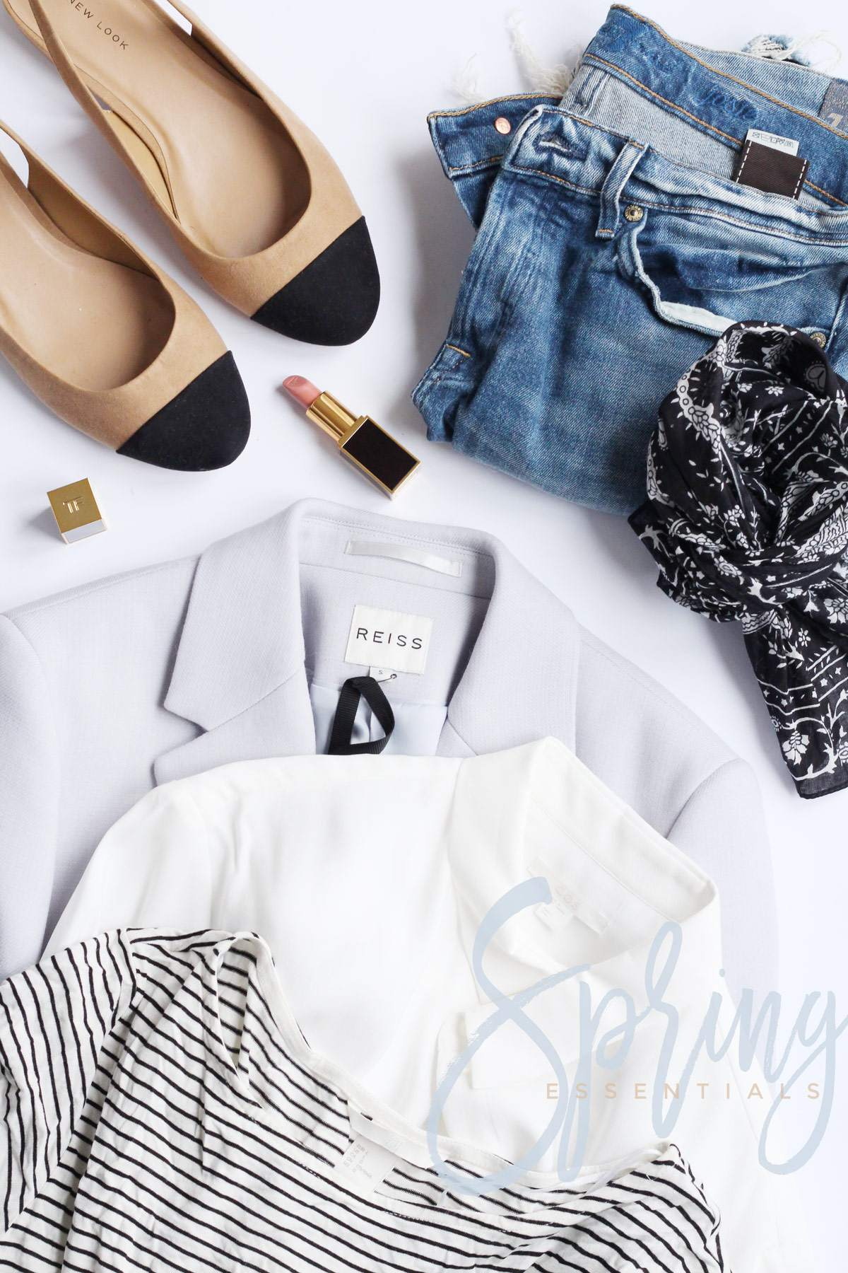 spring-essentials-cos-white-shirt-reiss-blazer-chanel-slingback-dupe