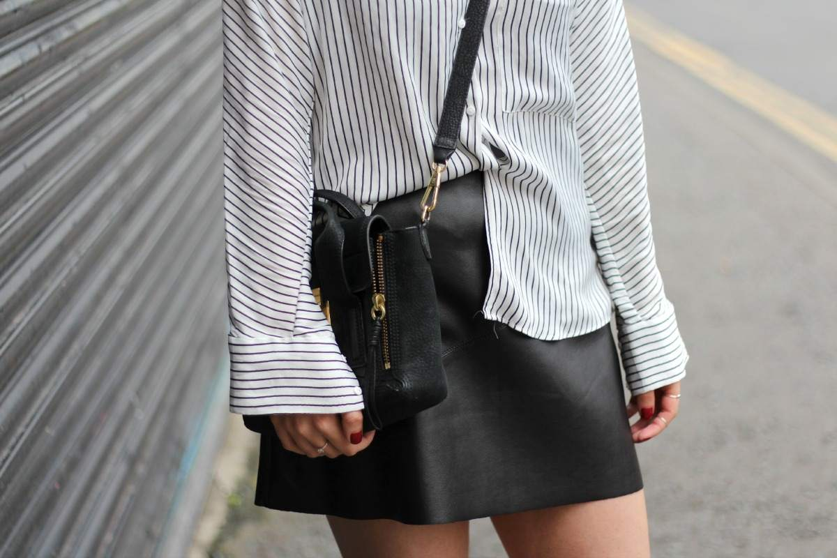 stripe shirt leather skirt phillip lim pashli black mango snake loafers 6