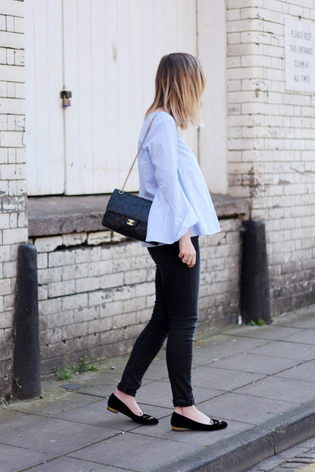 zara-blue-stripe-flared-sleeve-top-vintage-chanel-bag-charlotte-olympia-kitty-flats-1