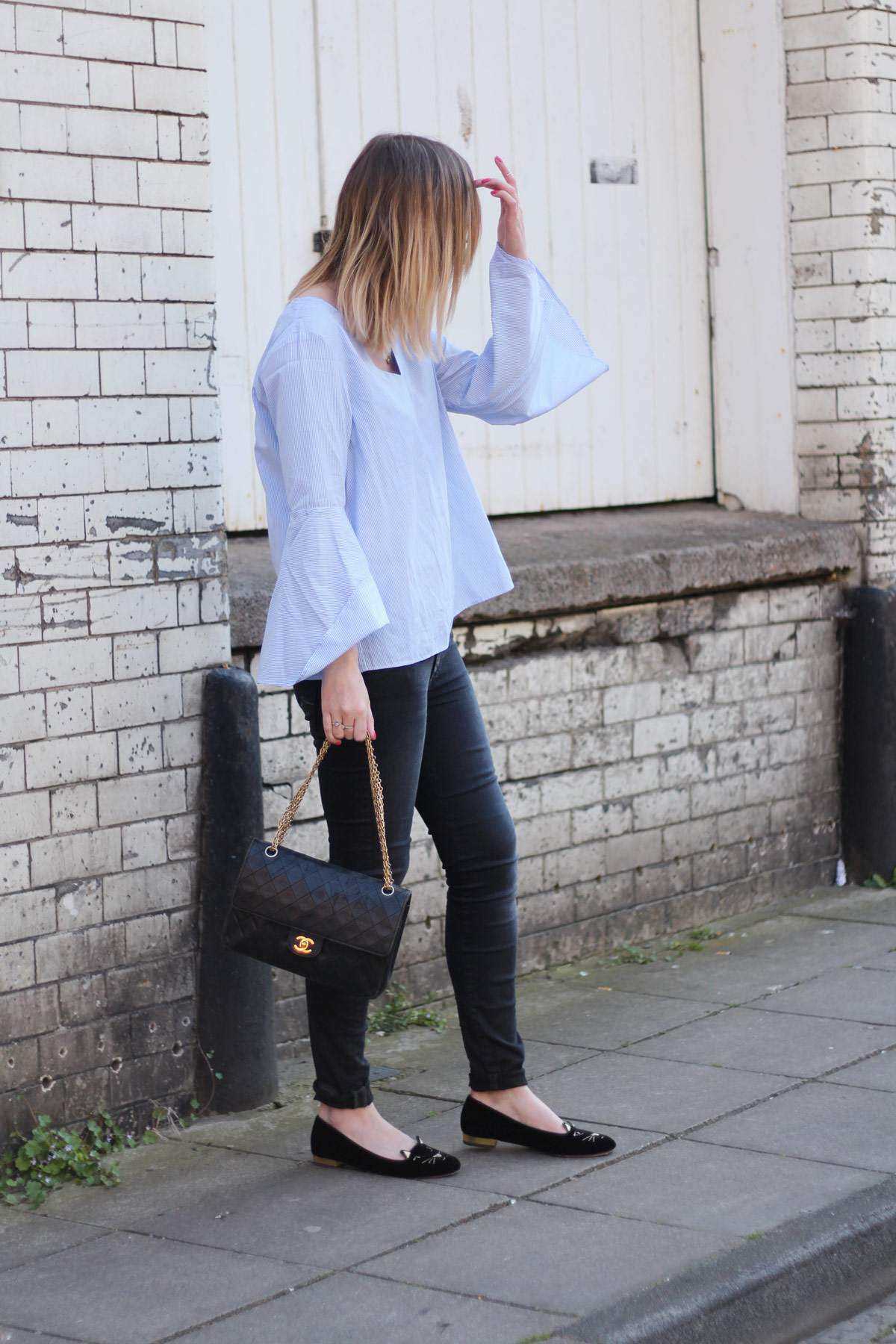 zara-blue-stripe-flared-sleeve-top-vintage-chanel-bag-charlotte-olympia-kitty-flats-2