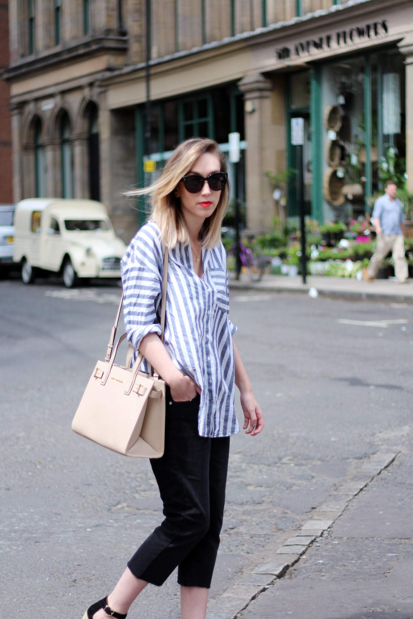 kurt-geiger-espadrille-wedge-heel-black-beige-bag-asos-stripe-shirt-celine-audrey-sunglasses-11