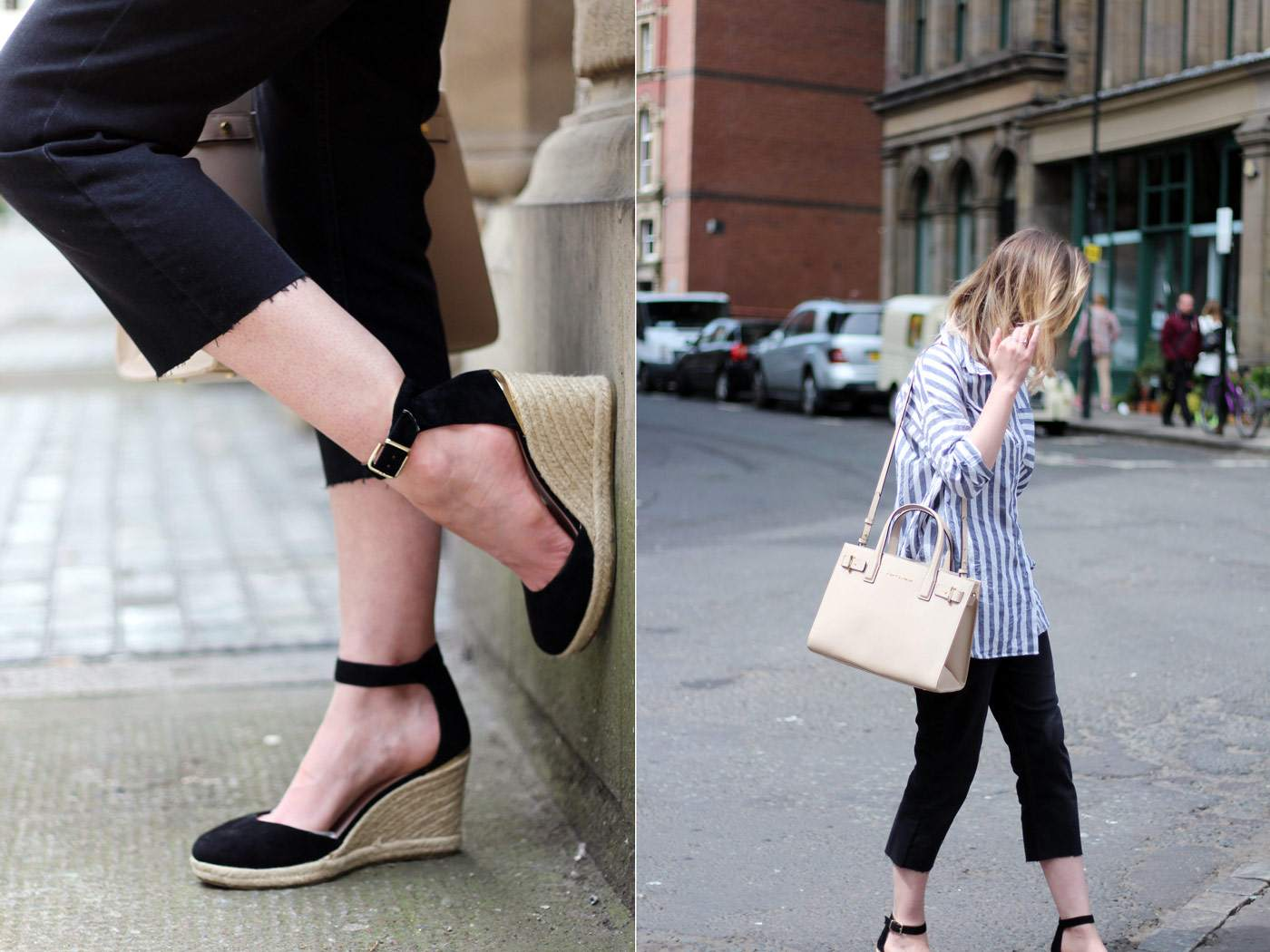 kurt-geiger-espadrille-wedge-heel-black-beige-bag-asos-stripe-shirt-celine-audrey-sunglasses-140