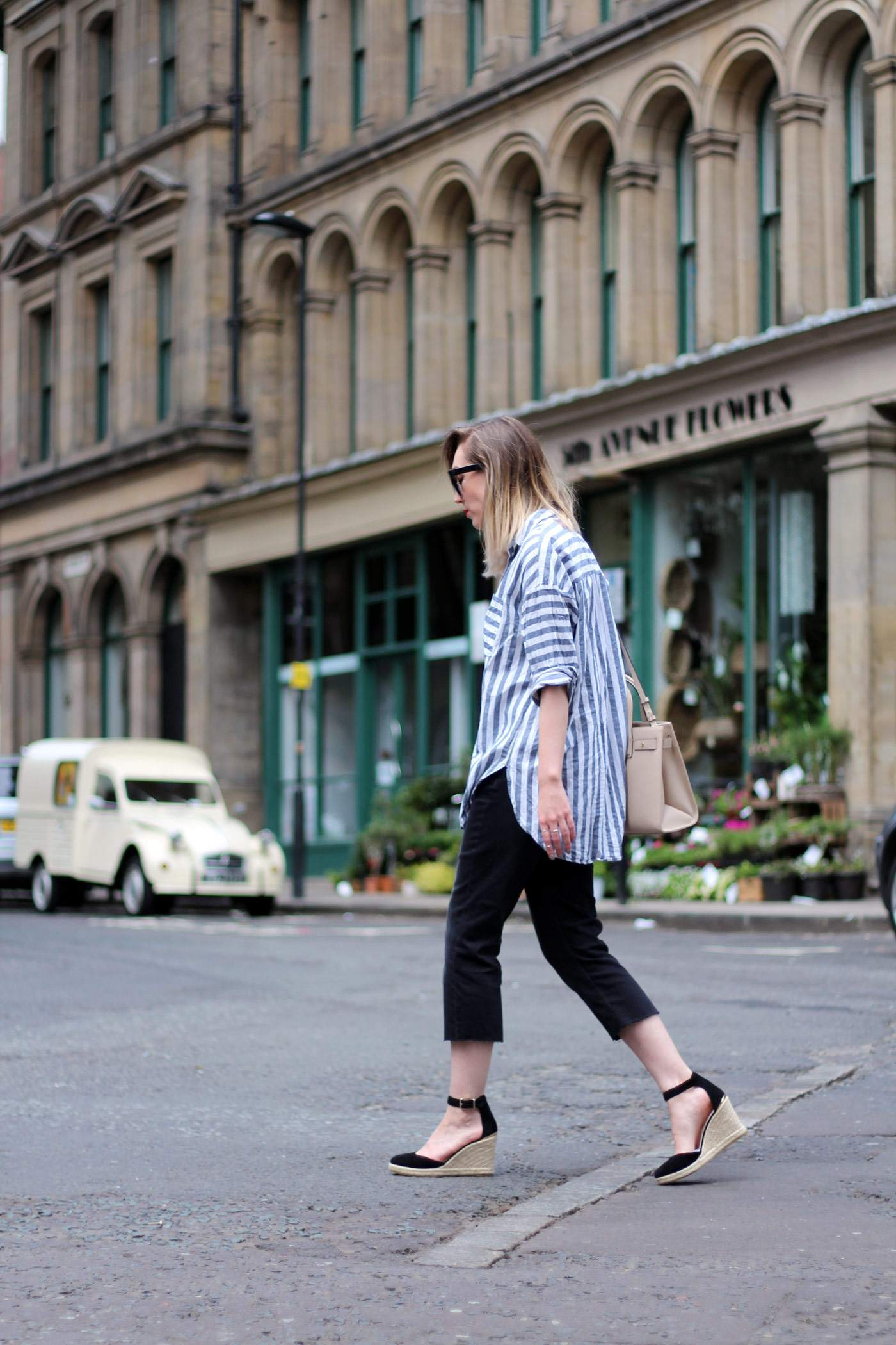 kurt-geiger-espadrille-wedge-heel-black-beige-bag-asos-stripe-shirt-celine-audrey-sunglasses-2