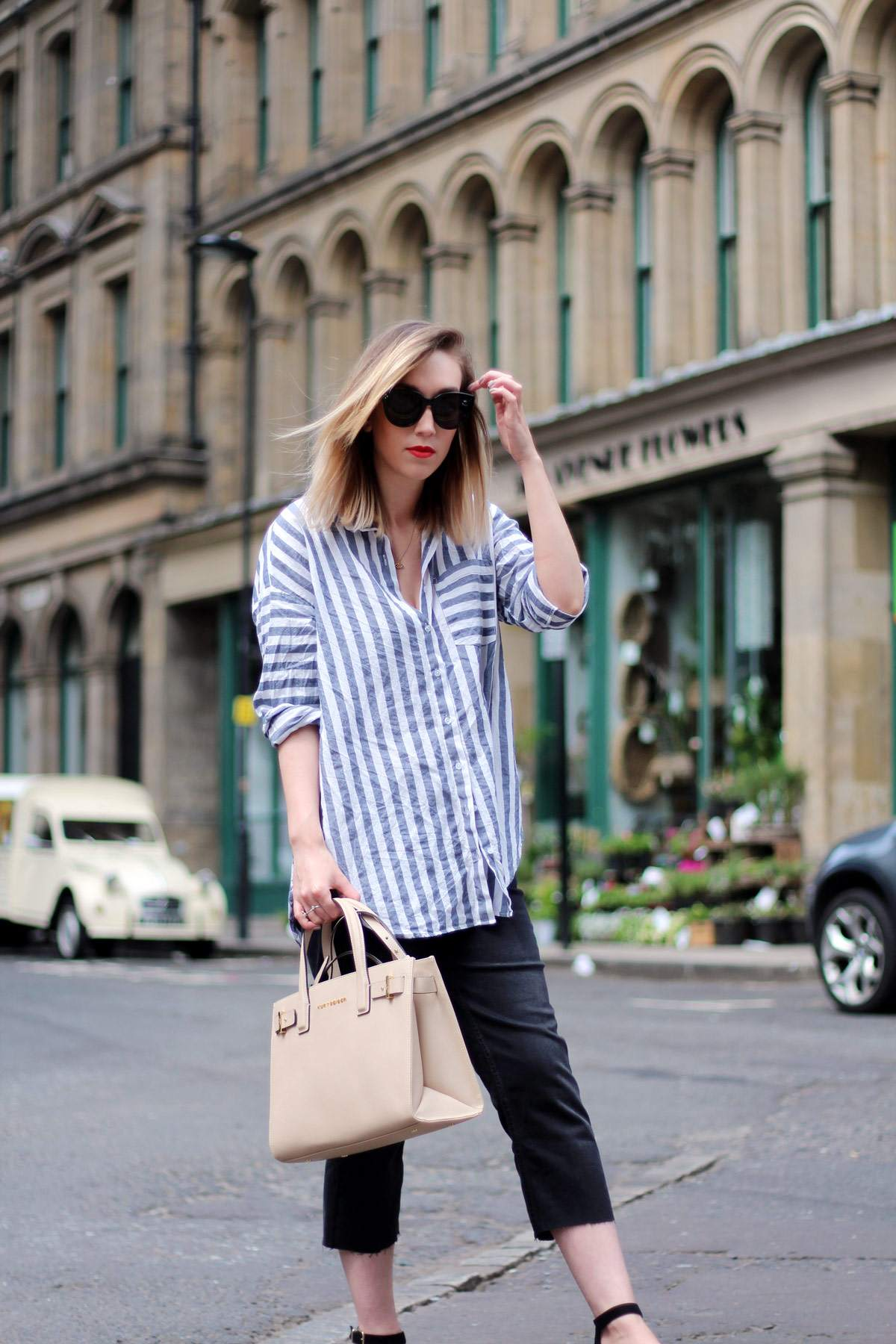 kurt-geiger-espadrille-wedge-heel-black-beige-bag-asos-stripe-shirt-celine-audrey-sunglasses-5