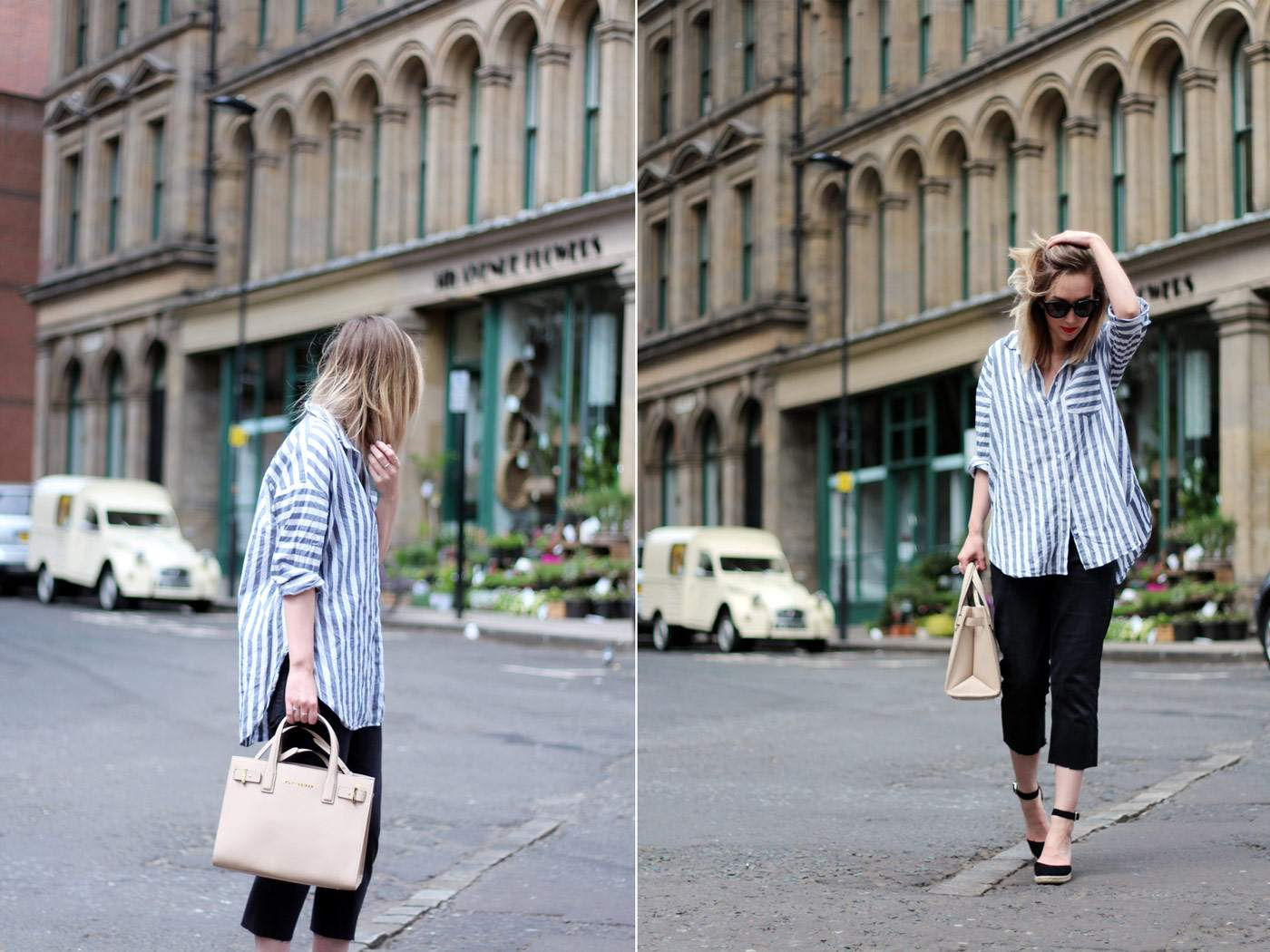 kurt-geiger-espadrille-wedge-heel-black-beige-bag-asos-stripe-shirt-celine-audrey-sunglasses-60