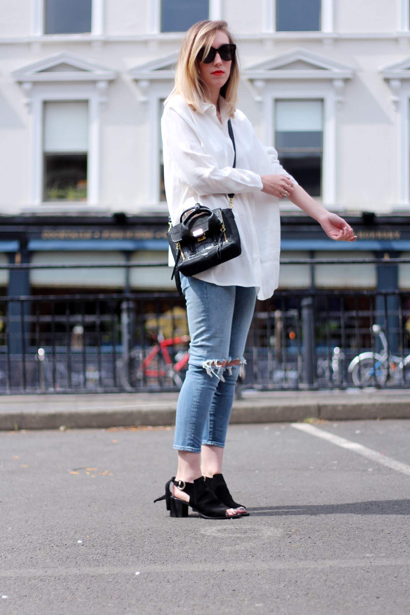 kurt-geiger-suede-peep-toe-boots-7FAM-jeans-COS-white-shirt-phillip-lim-pashli-mini