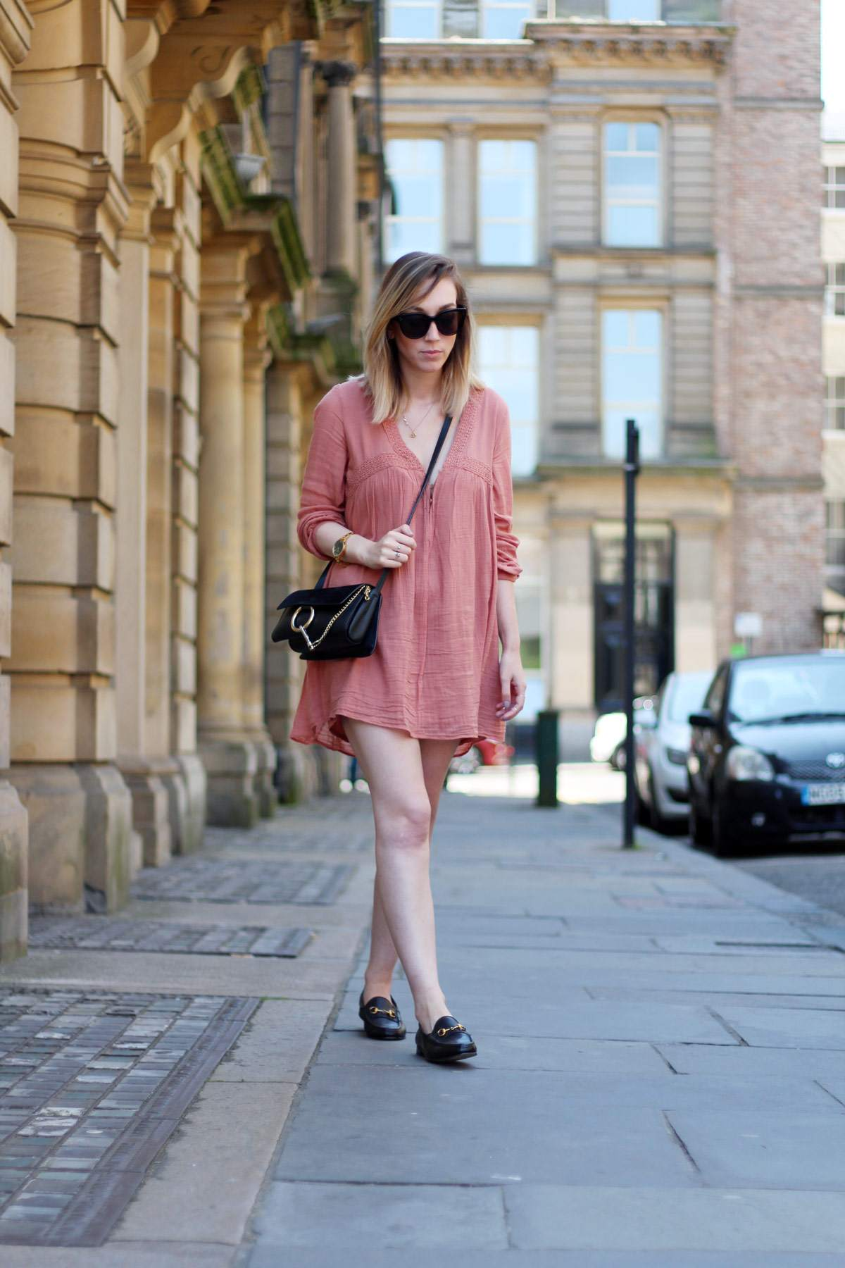 mango-peach-orange-boho-dress-gucci-black-loafers-chloe-faye-bag-celine-audrey-sunglasses-10