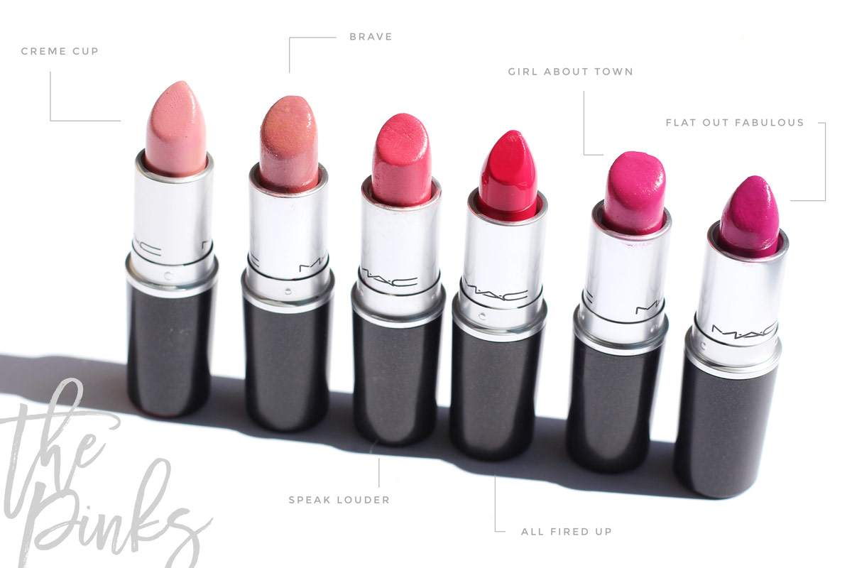 my-mac-lipstick-collection-pinks-creme-cup-brave-speak-loud-er-all-fired-up-flat-out-fabulous-gurl-about-town