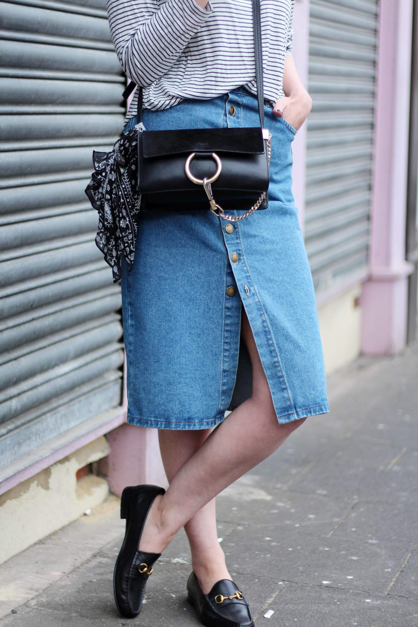new-look-denim-midi-skirt-chloe-faye-black-H&M-stripe-top-10