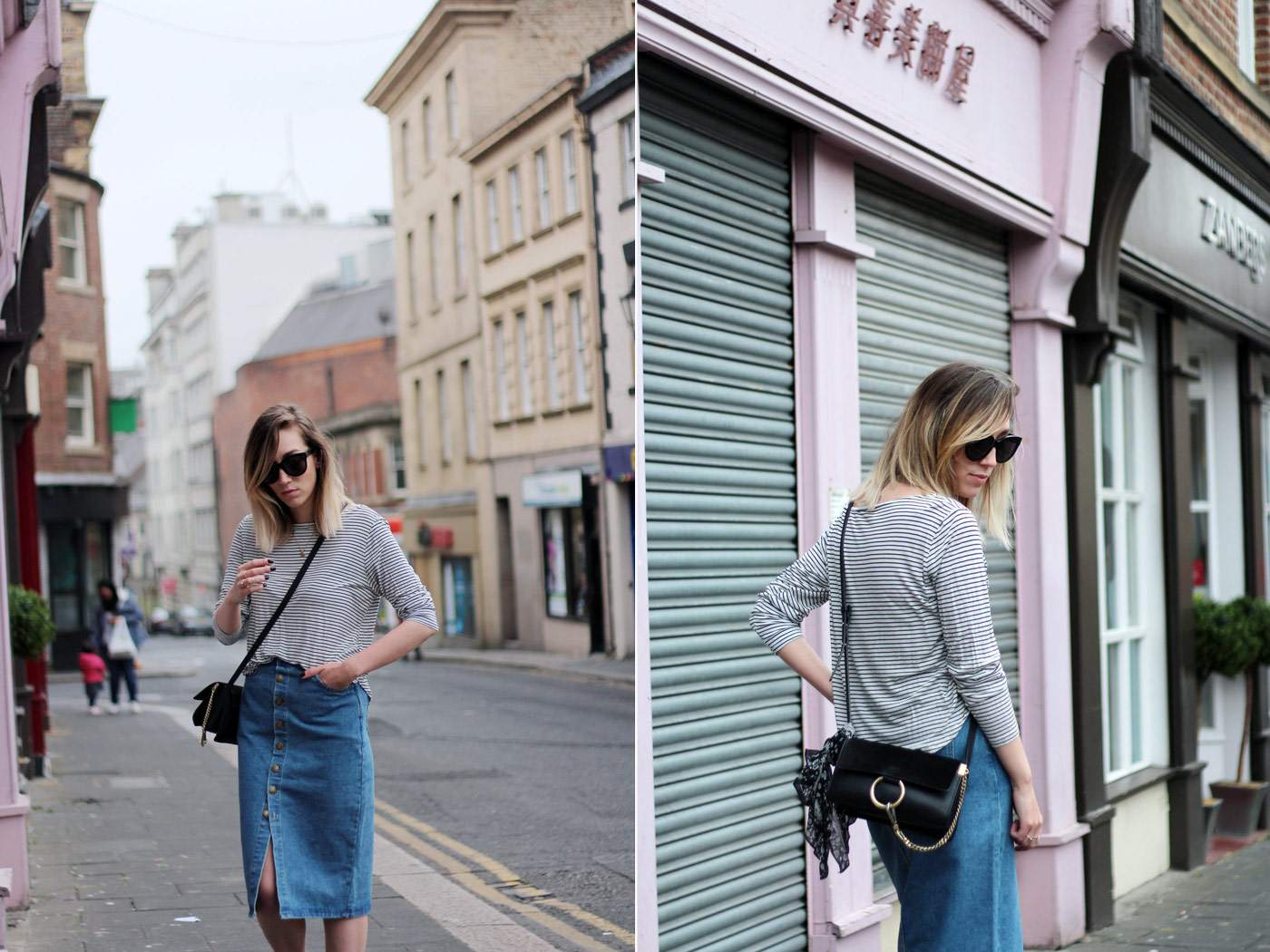 new-look-denim-midi-skirt-chloe-faye-black-H&M-stripe-top-14