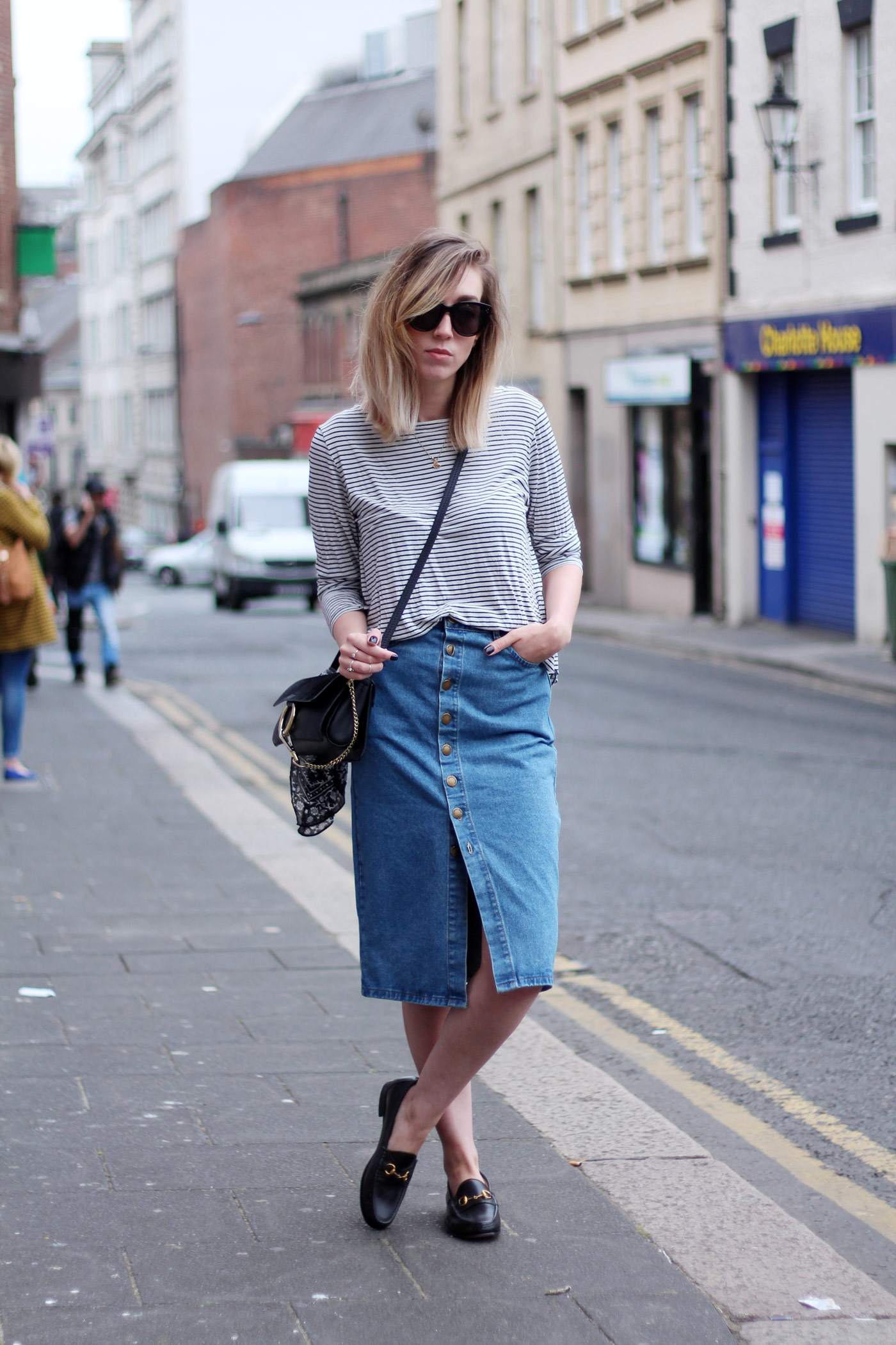 new-look-denim-midi-skirt-chloe-faye-black-H&M-stripe-top-7