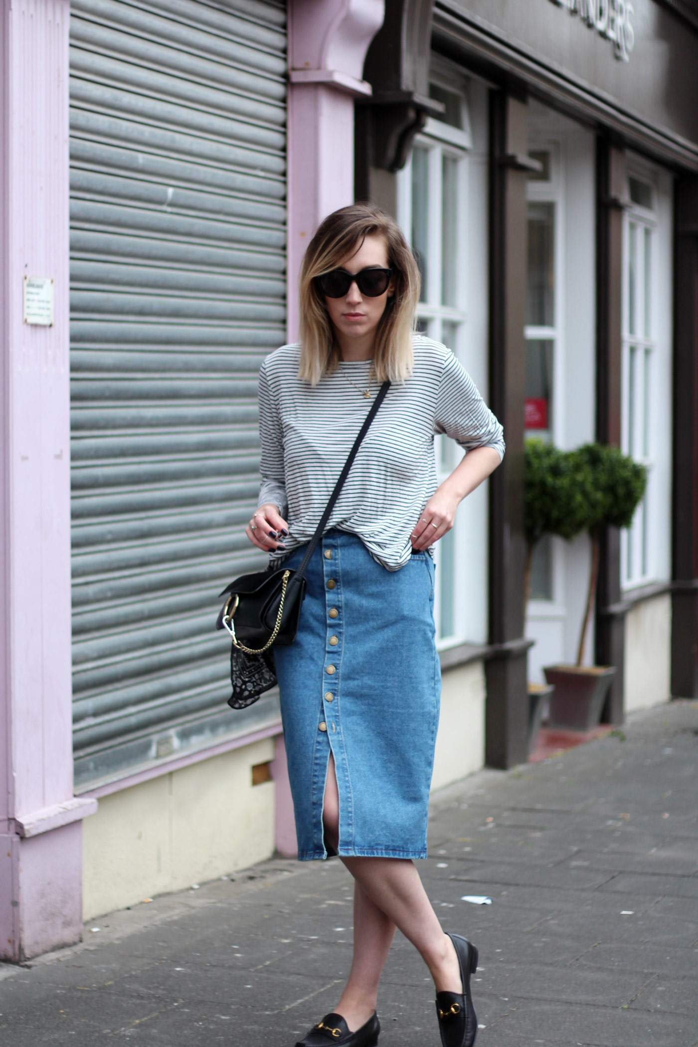 new-look-denim-midi-skirt-chloe-faye-black-H&M-stripe-top