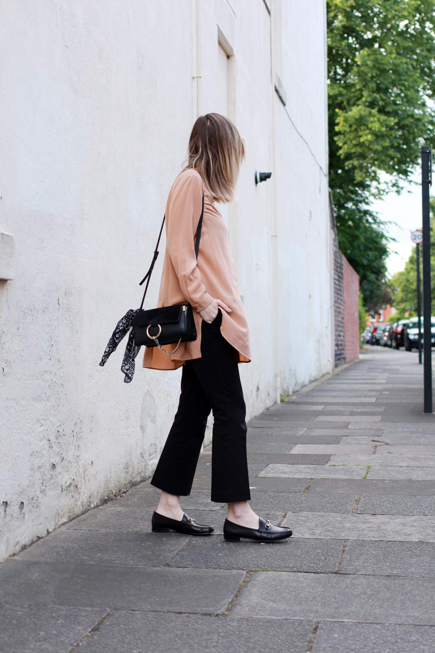 Boden-flared-trousers-COS-peach-shirt-Chloe-faye-bag-black-gucci-loafers-1
