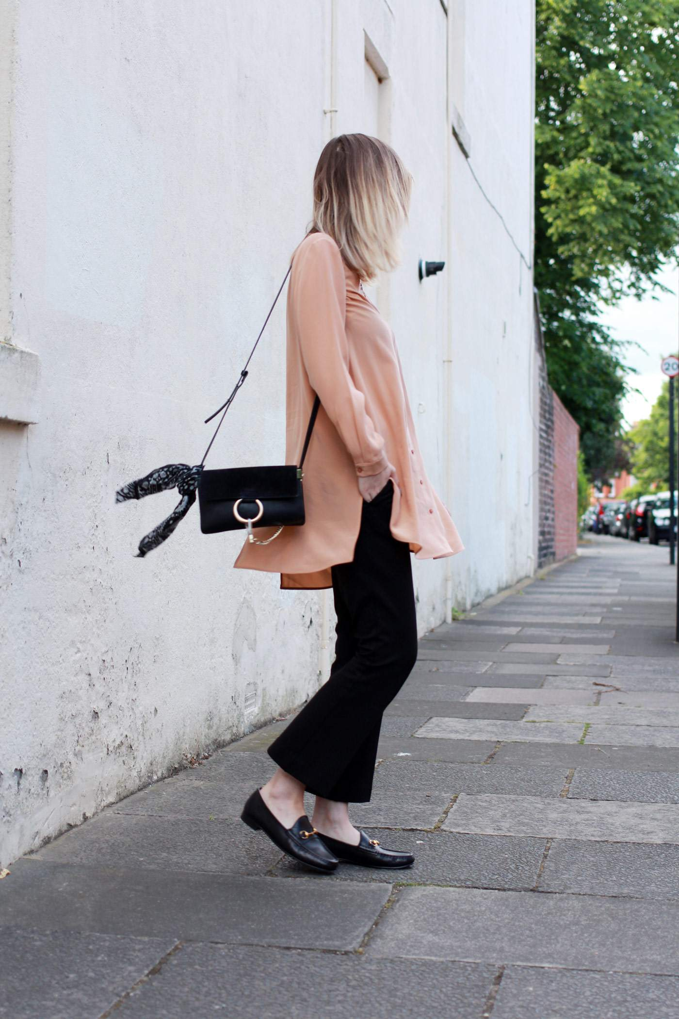 Boden-flared-trousers-COS-peach-shirt-Chloe-faye-bag-black-gucci-loafers-2