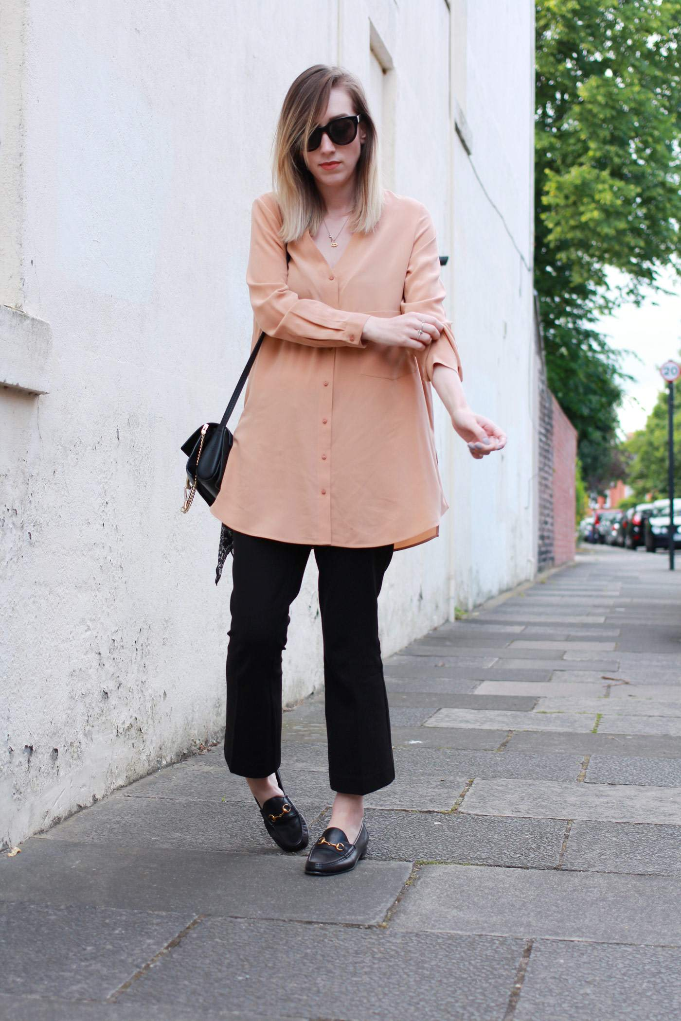 Boden-flared-trousers-COS-peach-shirt-Chloe-faye-bag-black-gucci-loafers-3