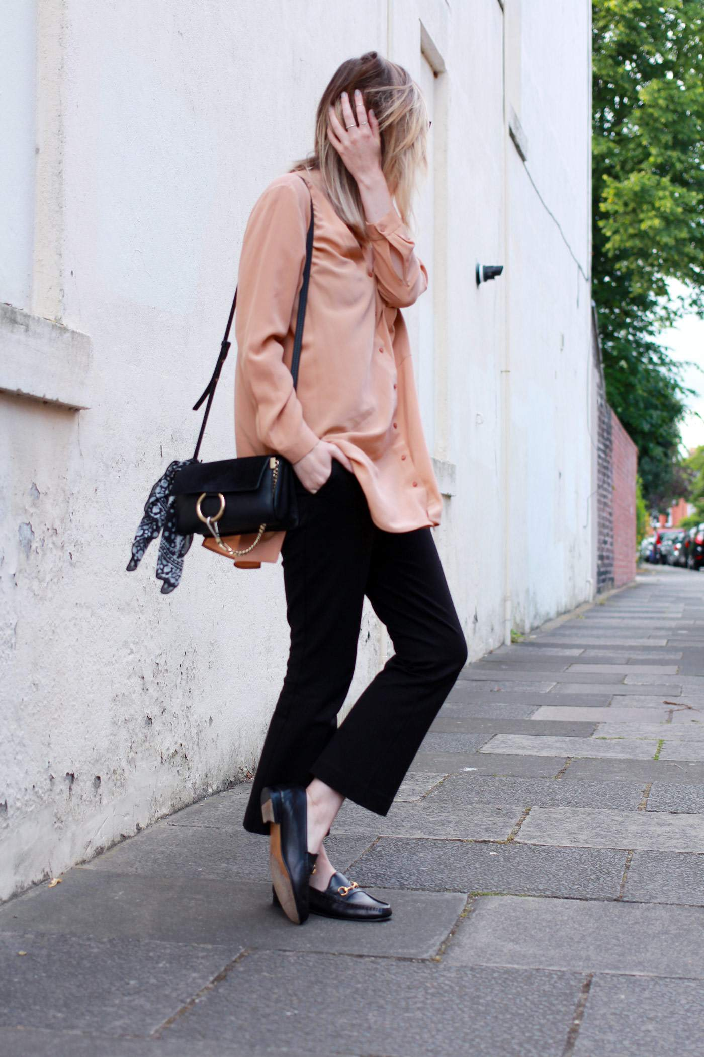 Boden-flared-trousers-COS-peach-shirt-Chloe-faye-bag-black-gucci-loafers-4