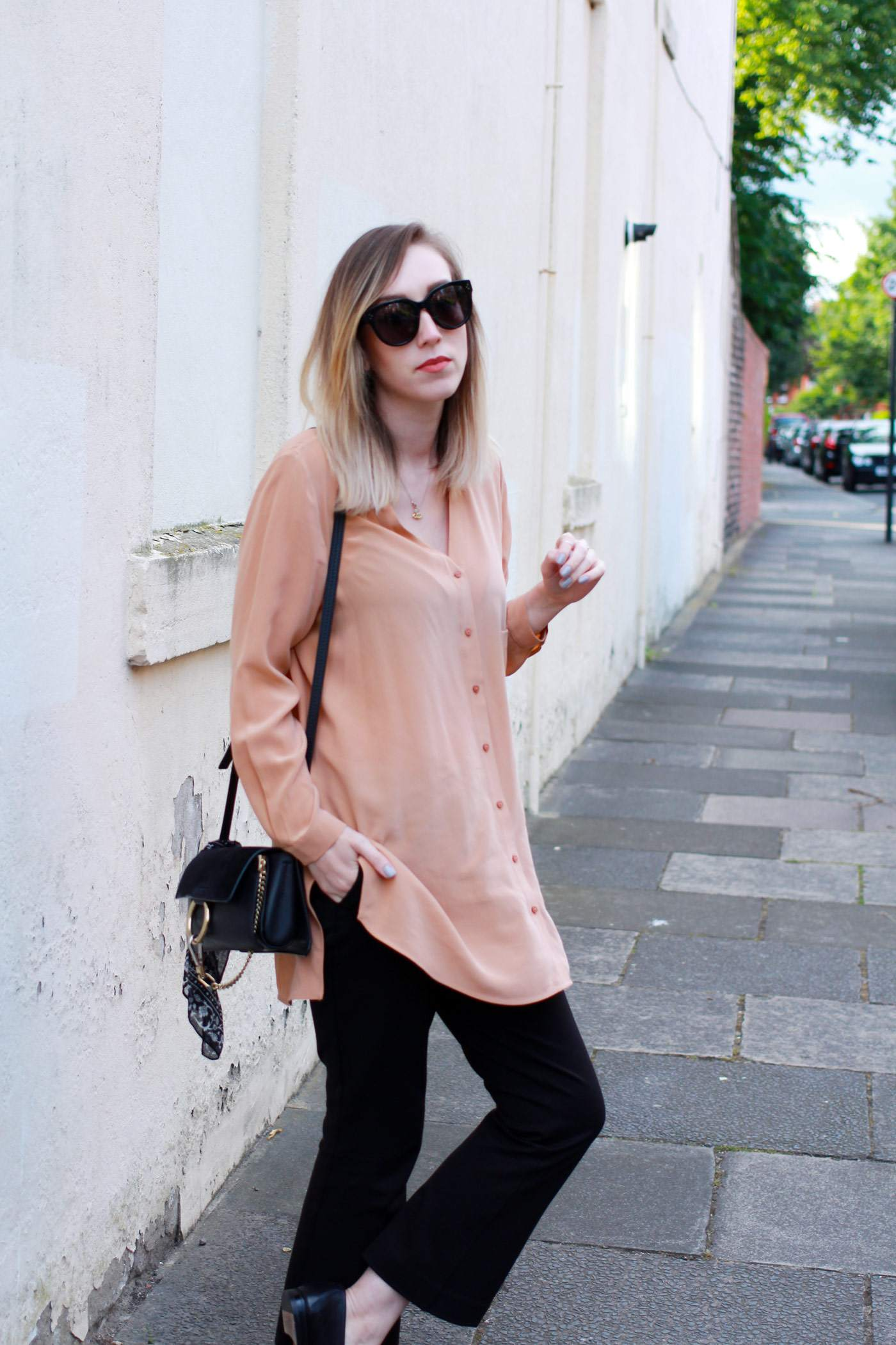 Boden-flared-trousers-COS-peach-shirt-Chloe-faye-bag-black-gucci-loafers-5