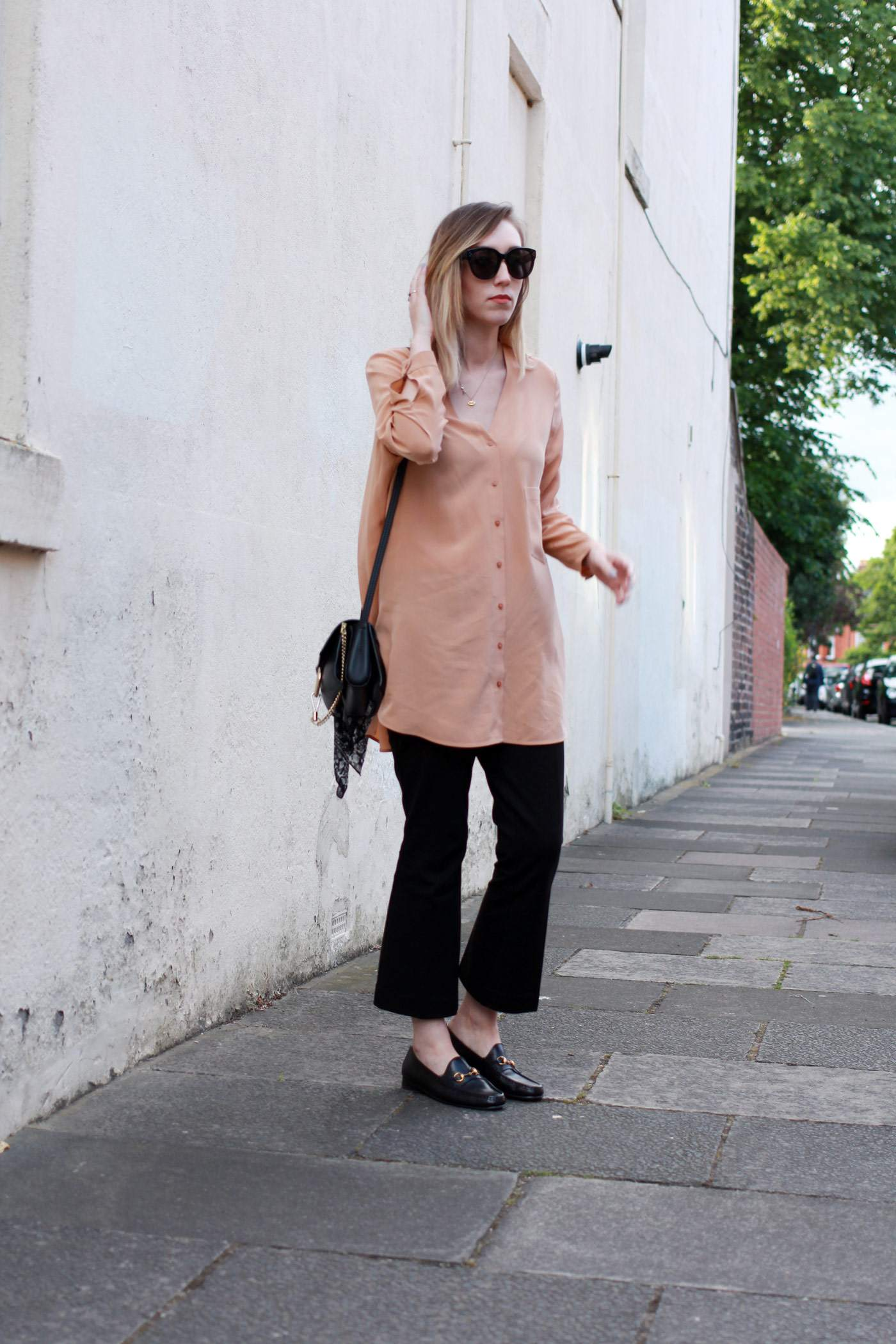 Boden-flared-trousers-COS-peach-shirt-Chloe-faye-bag-black-gucci-loafers