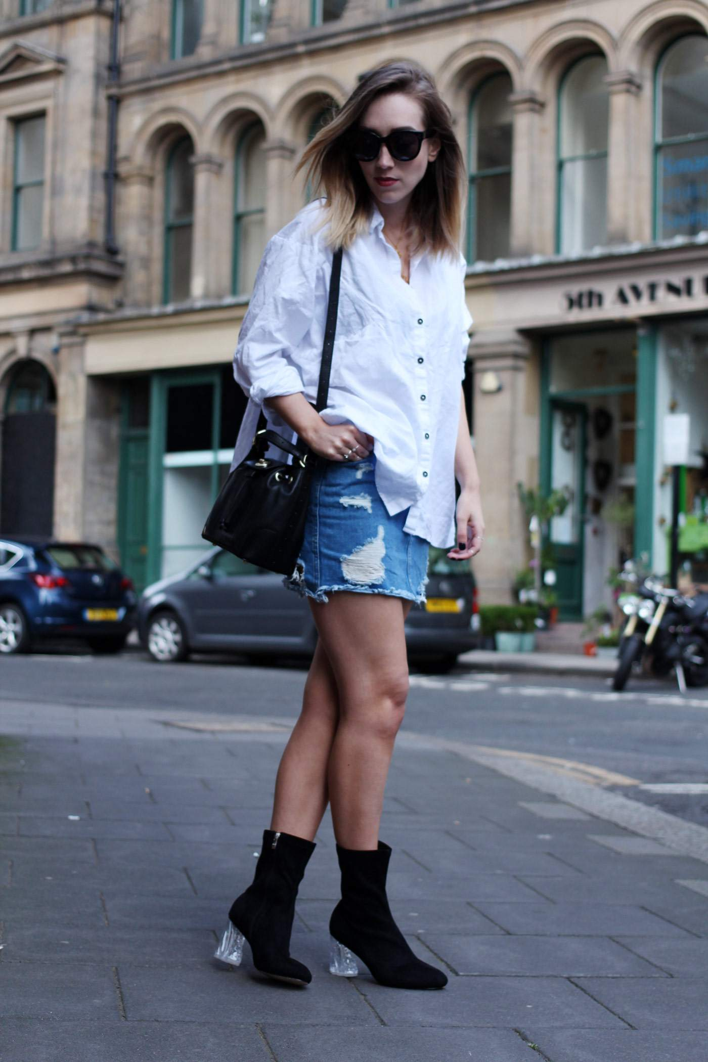 ego-boots-denim-skirt-oversized-white-shirt-radley-bag-3