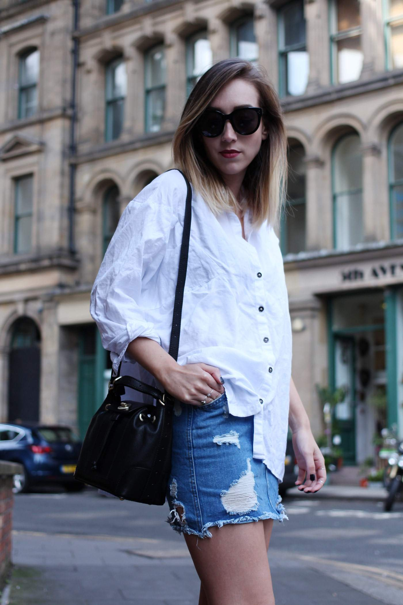 ego-boots-denim-skirt-oversized-white-shirt-radley-bag-5