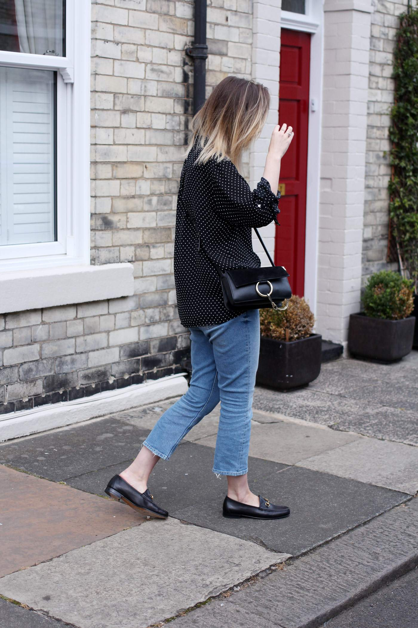 polkadot-shirt-mom-jeans-gucci-loafers-chloe-faye-bag-2