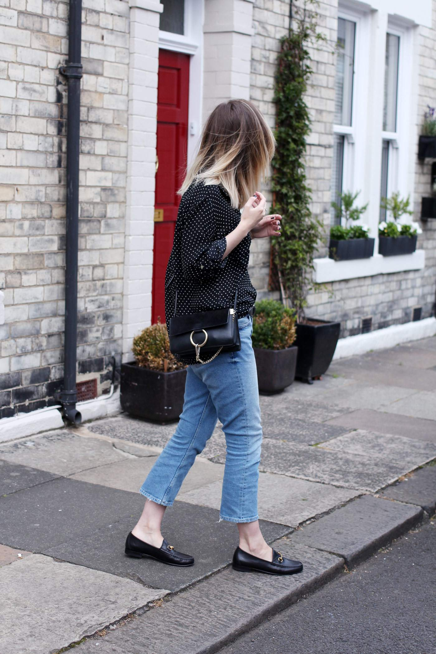 polkadot-shirt-mom-jeans-gucci-loafers-chloe-faye-bag-3