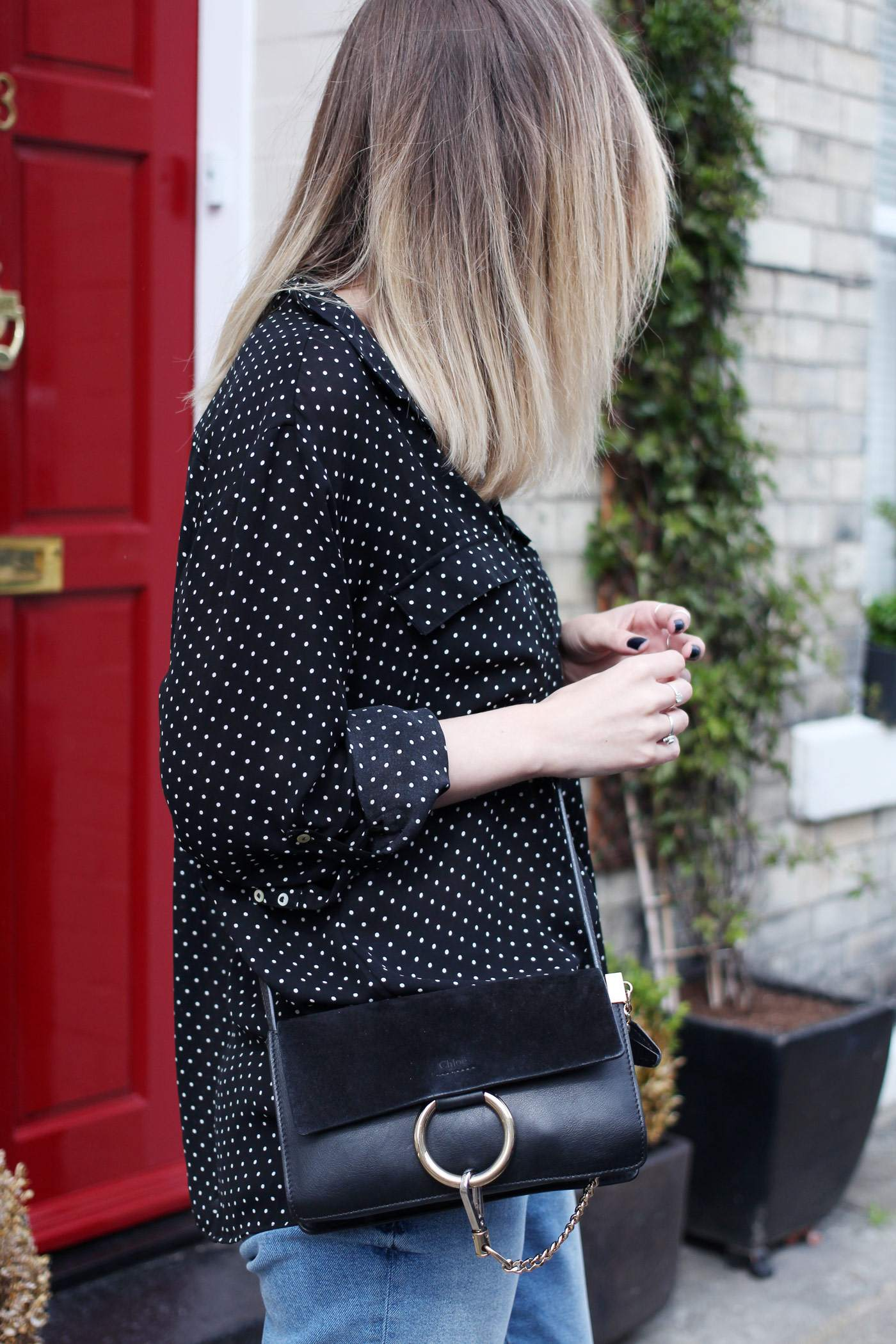 polkadot-shirt-mom-jeans-gucci-loafers-chloe-faye-bag-6