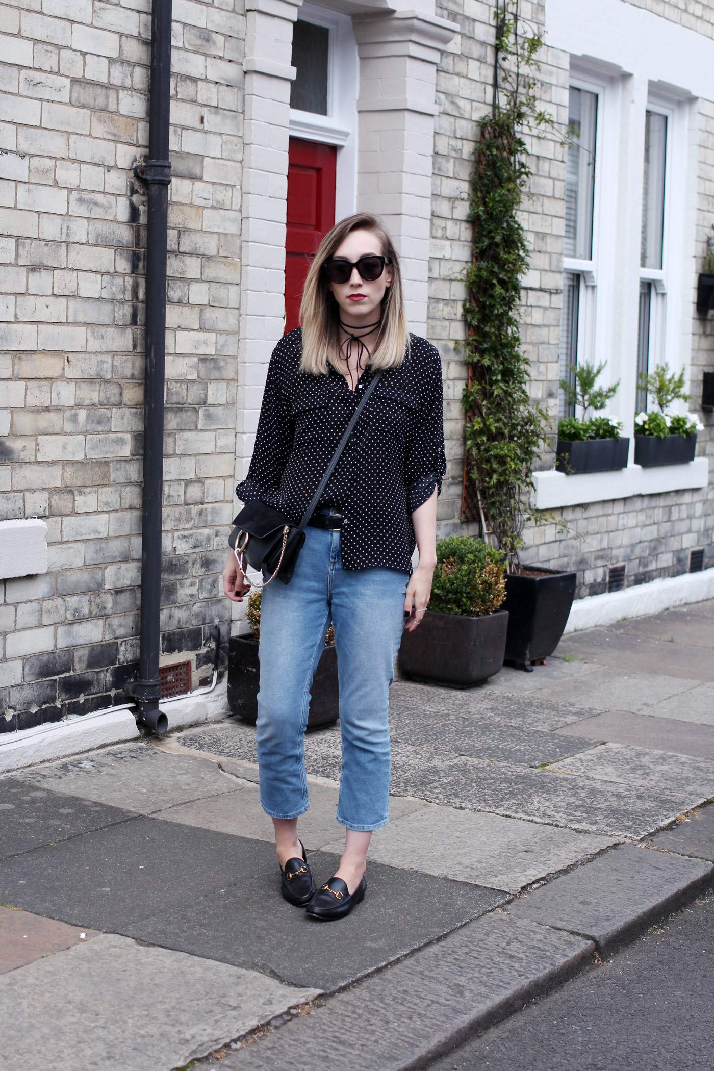 polkadot-shirt-mom-jeans-gucci-loafers-chloe-faye-bag