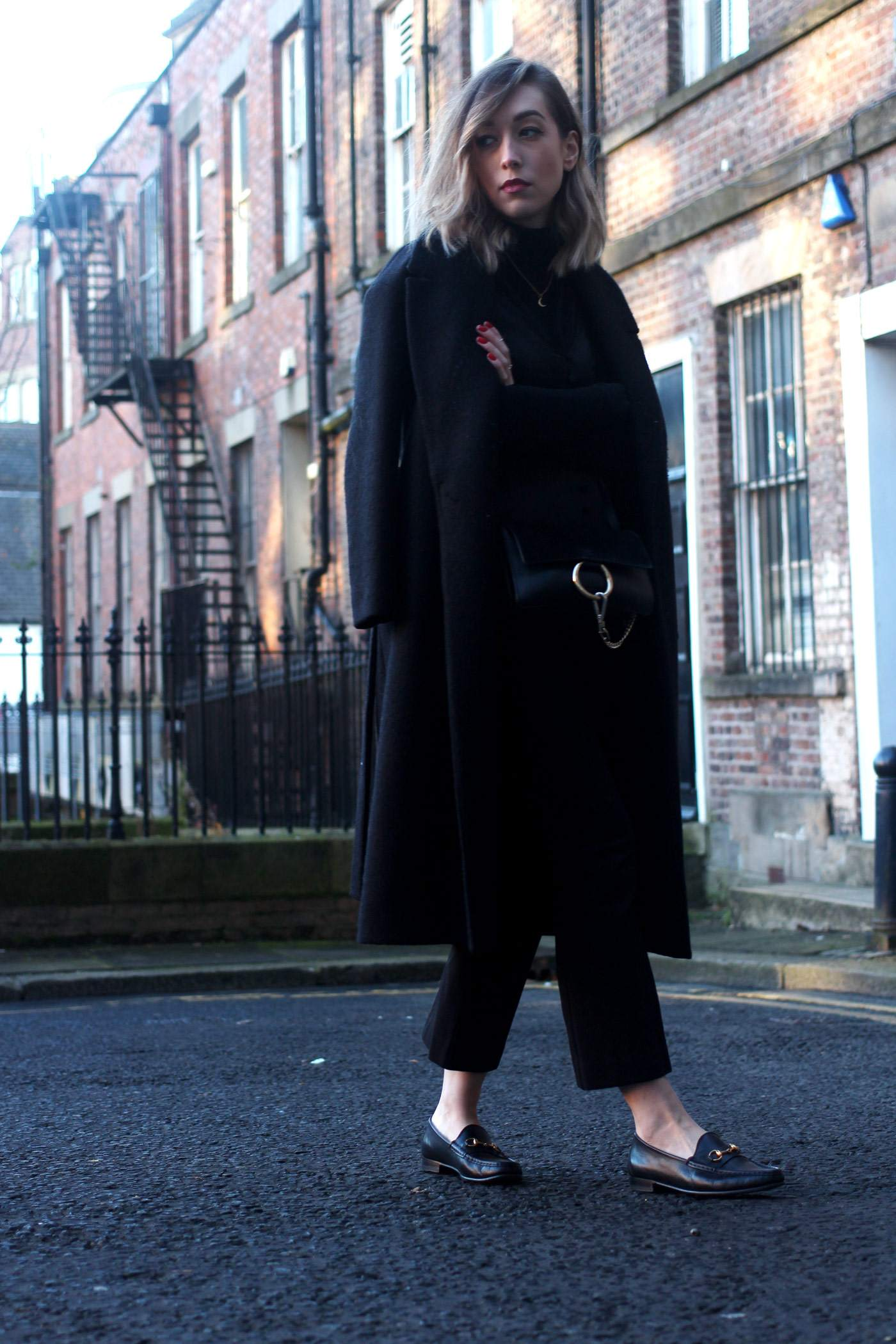 all-black-winter-look-nobodys-child-button-up-cami-gucci-loafers-chloe-faye-3