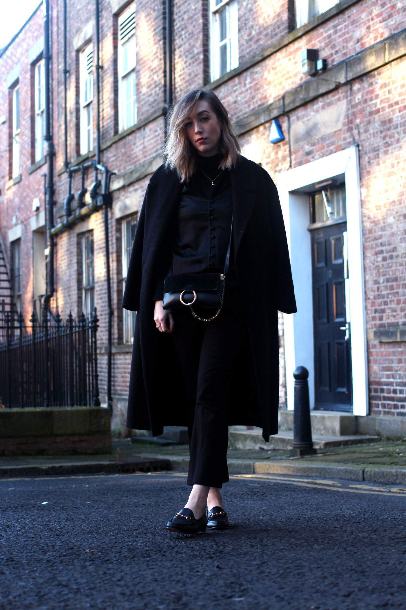 all-black-winter-look-nobodys-child-button-up-cami-gucci-loafers-chloe-faye