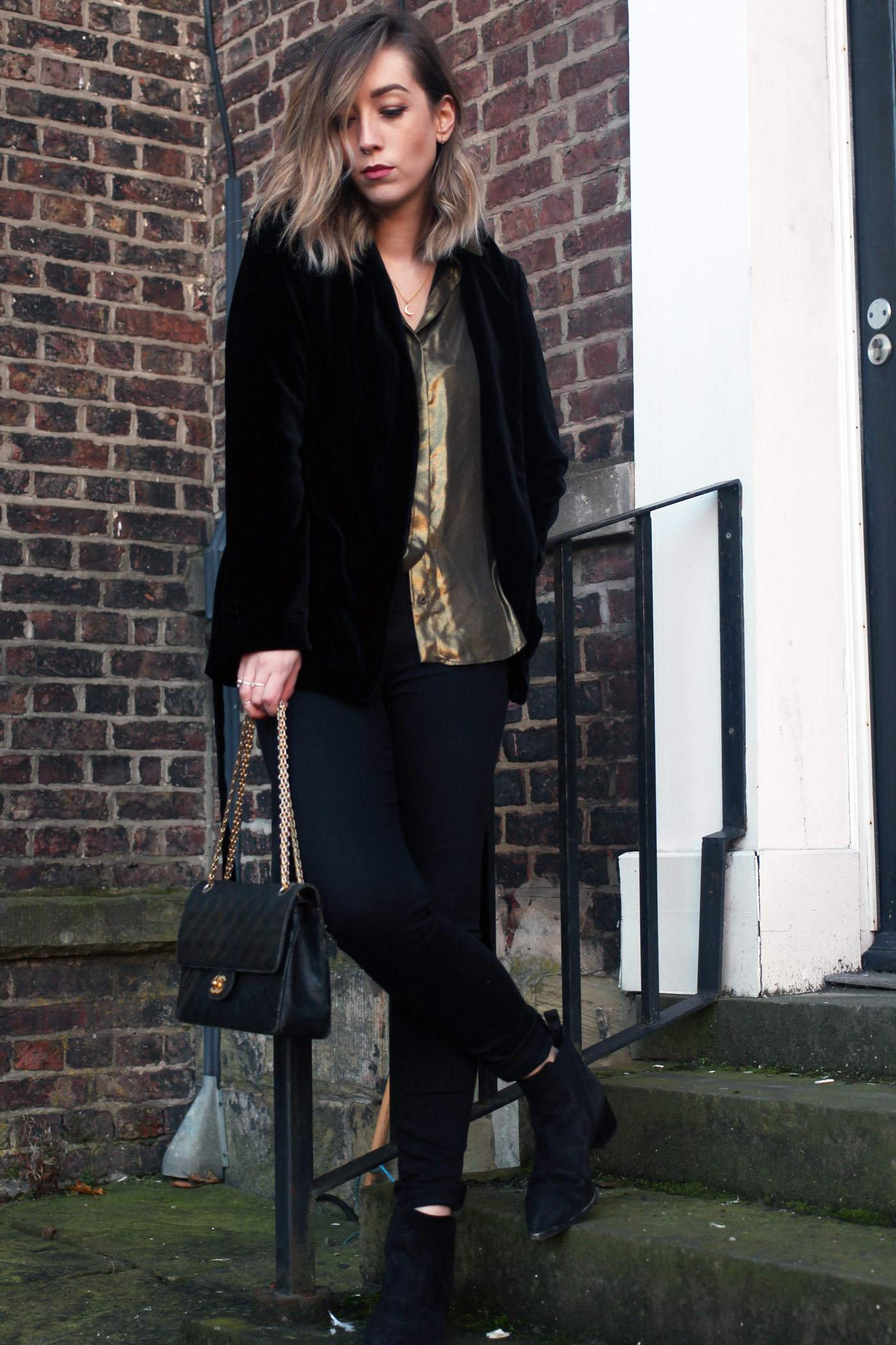 zara-velvet-belted-blazer-gold-shirt-vintage-chanel-acne-jensen-1