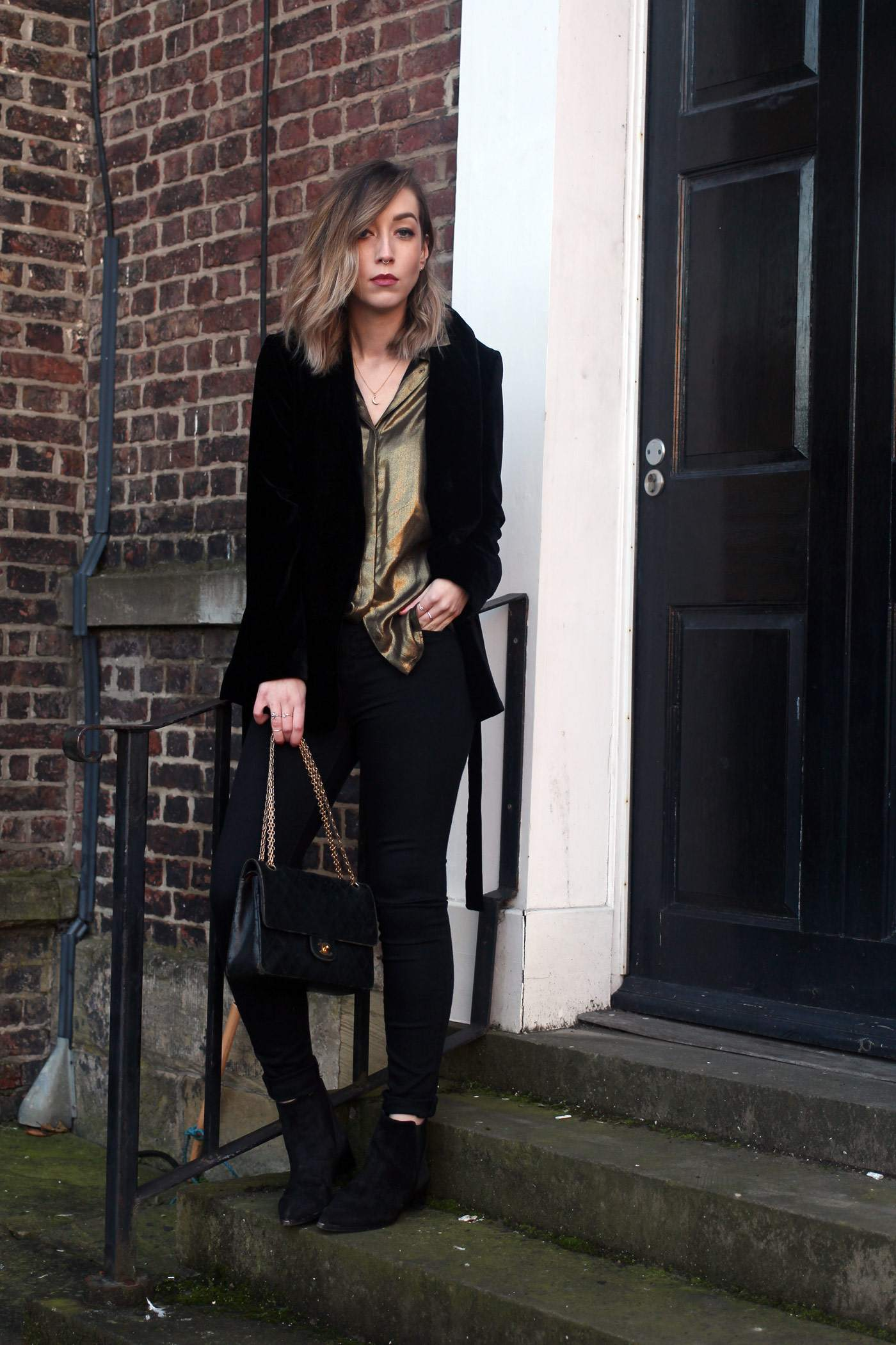 zara-velvet-belted-blazer-gold-shirt-vintage-chanel-acne-jensen-2