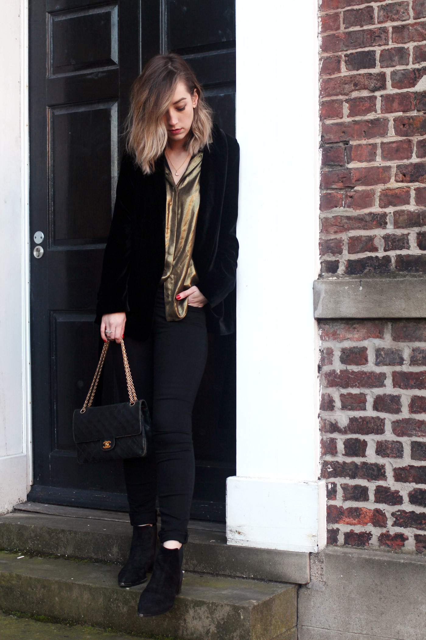 zara-velvet-belted-blazer-gold-shirt-vintage-chanel-acne-jensen-3