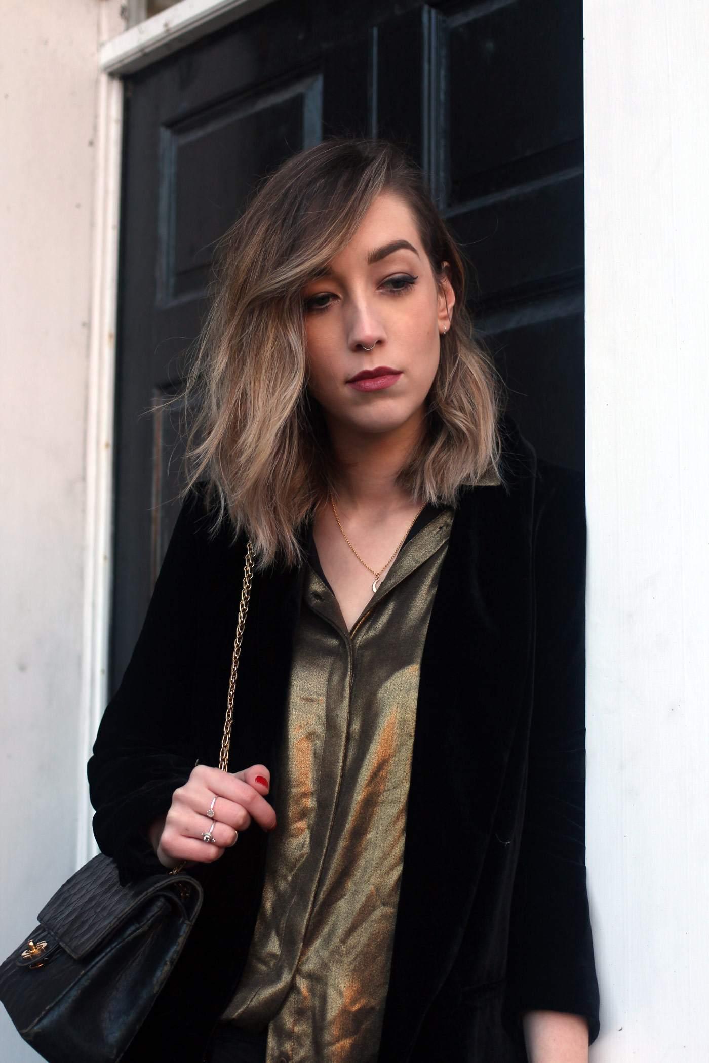 zara-velvet-belted-blazer-gold-shirt-vintage-chanel-acne-jensen-7