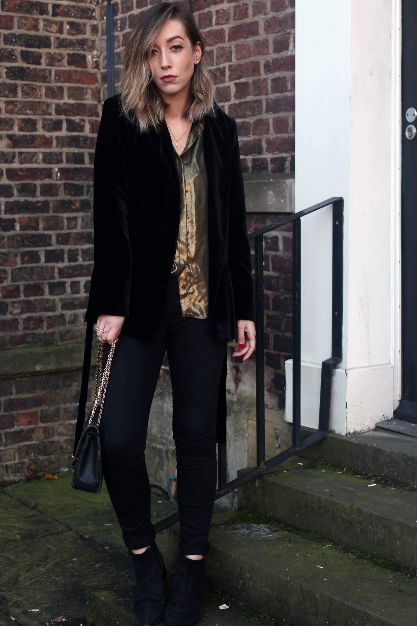 zara-velvet-belted-blazer-gold-shirt-vintage-chanel-acne-jensen