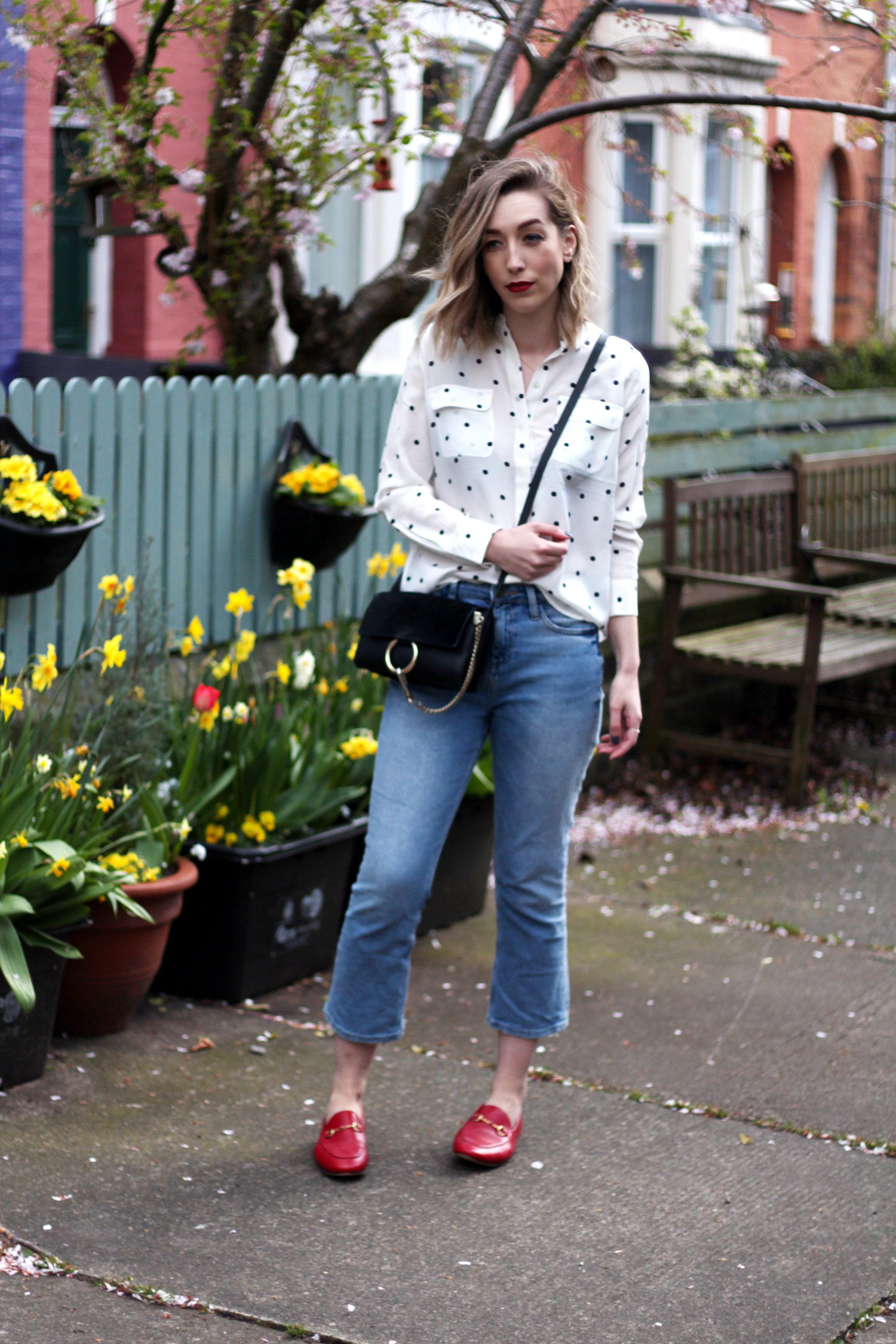 boden-polkadot-shirt-BDG-jeans-gucci-red-jordaan-loafers-1